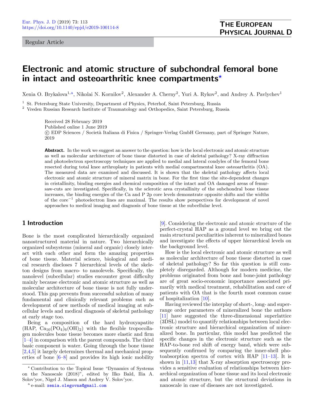 Book cover Electronic and atomic structure of subchondral femoral bone in intact and osteoarthritic knee compartments
