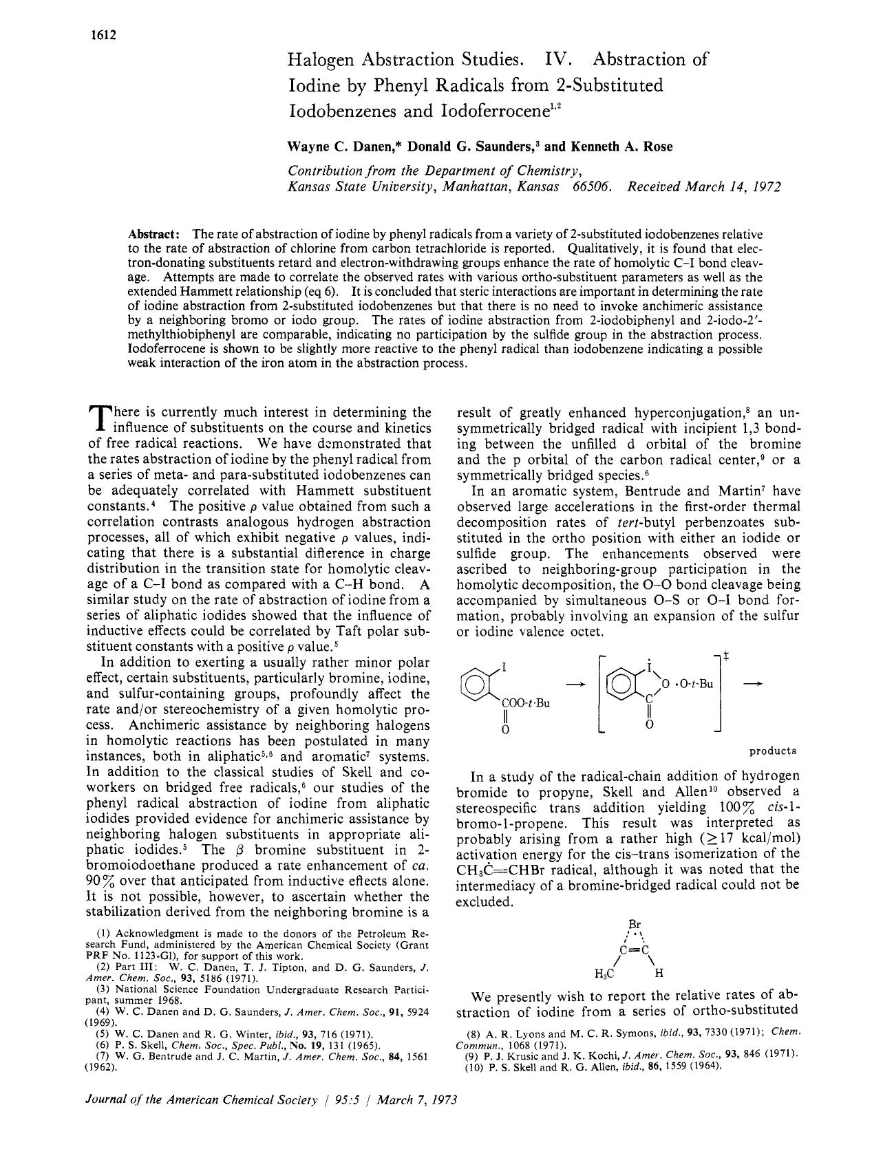 Book cover Halogen abstraction studies. IV. Abstraction of iodine by phenyl radicals from 2-substituted iodobenzenes and iodoferrocene