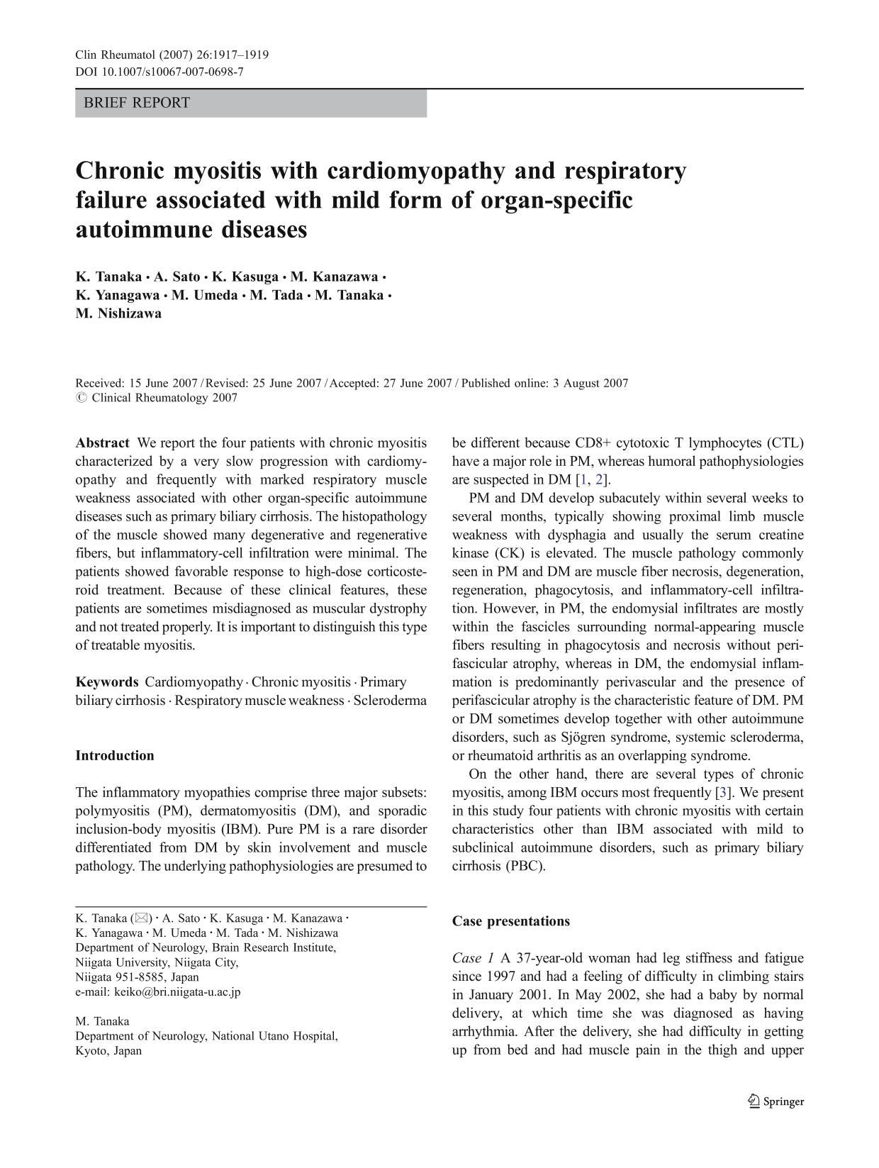 Book cover Chronic myositis with cardiomyopathy and respiratory failure associated with mild form of organ-specific autoimmune diseases