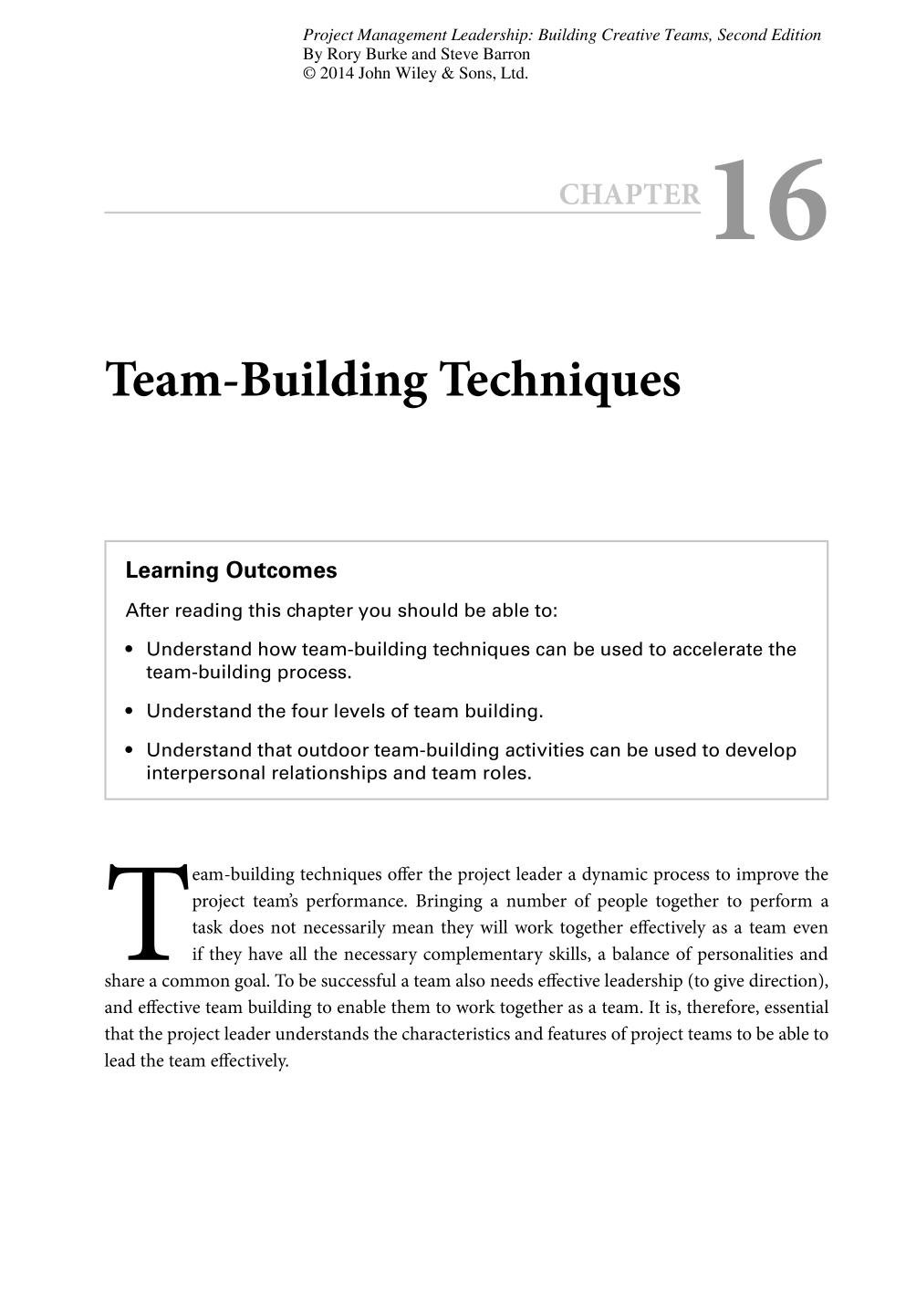 Book cover Project Management Leadership (Building Creative Teams) || Team-Building Techniques
