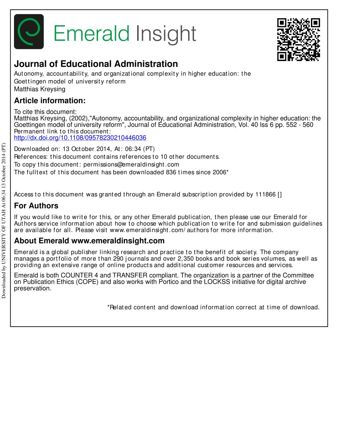Book cover Autonomy, accountability, and organizational complexity in higher education: the Goettingen model of university reform