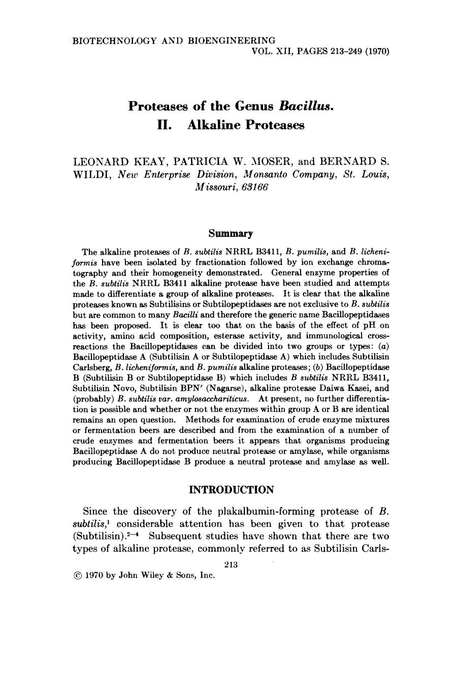 Book cover Proteases of the genus <em>Bacillus</em>. II. Alkaline proteases
