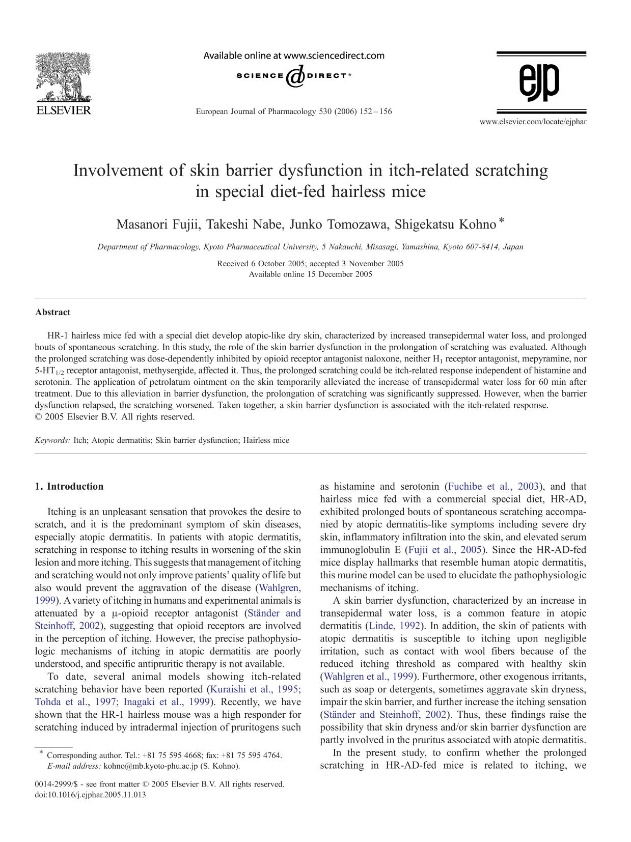 Book cover Involvement of skin barrier dysfunction in itch-related scratching in special diet-fed hairless mice