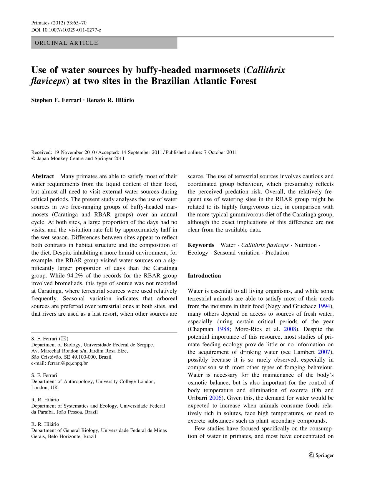 Book cover Use of water sources by buffy-headed marmosets (Callithrix flaviceps) at two sites in the Brazilian Atlantic Forest