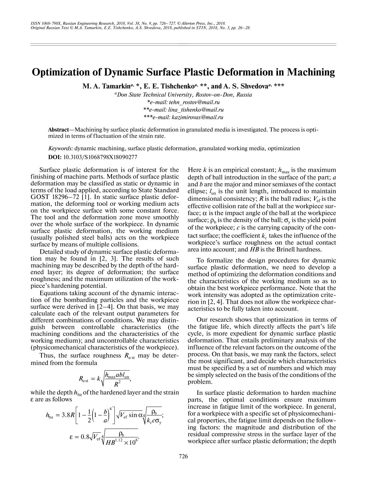 Book cover Optimization of Dynamic Surface Plastic Deformation in Machining