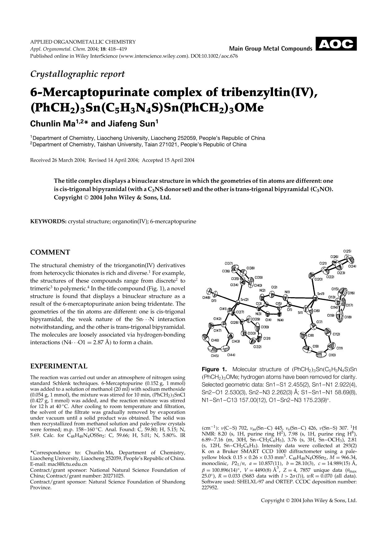 Kover buku Crystallographic report: 6-Mercaptopurinate complex of tribenzyltin(IV), (PhCH2)3Sn(C5H3N4S)Sn(PhCH2)3OMe