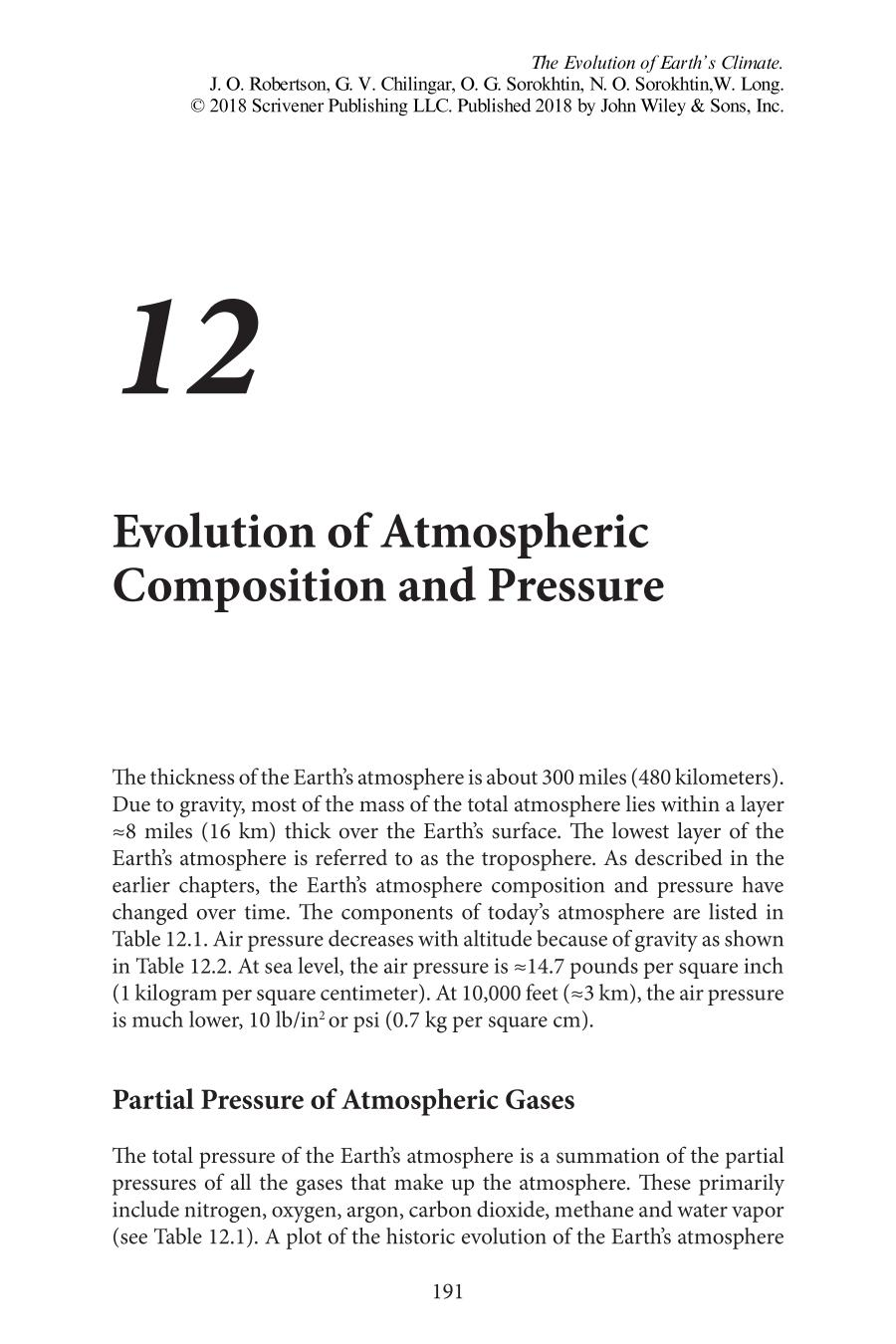 Book cover The Evolution of Earth's Climate || Evolution of Atmospheric Composition and Pressure