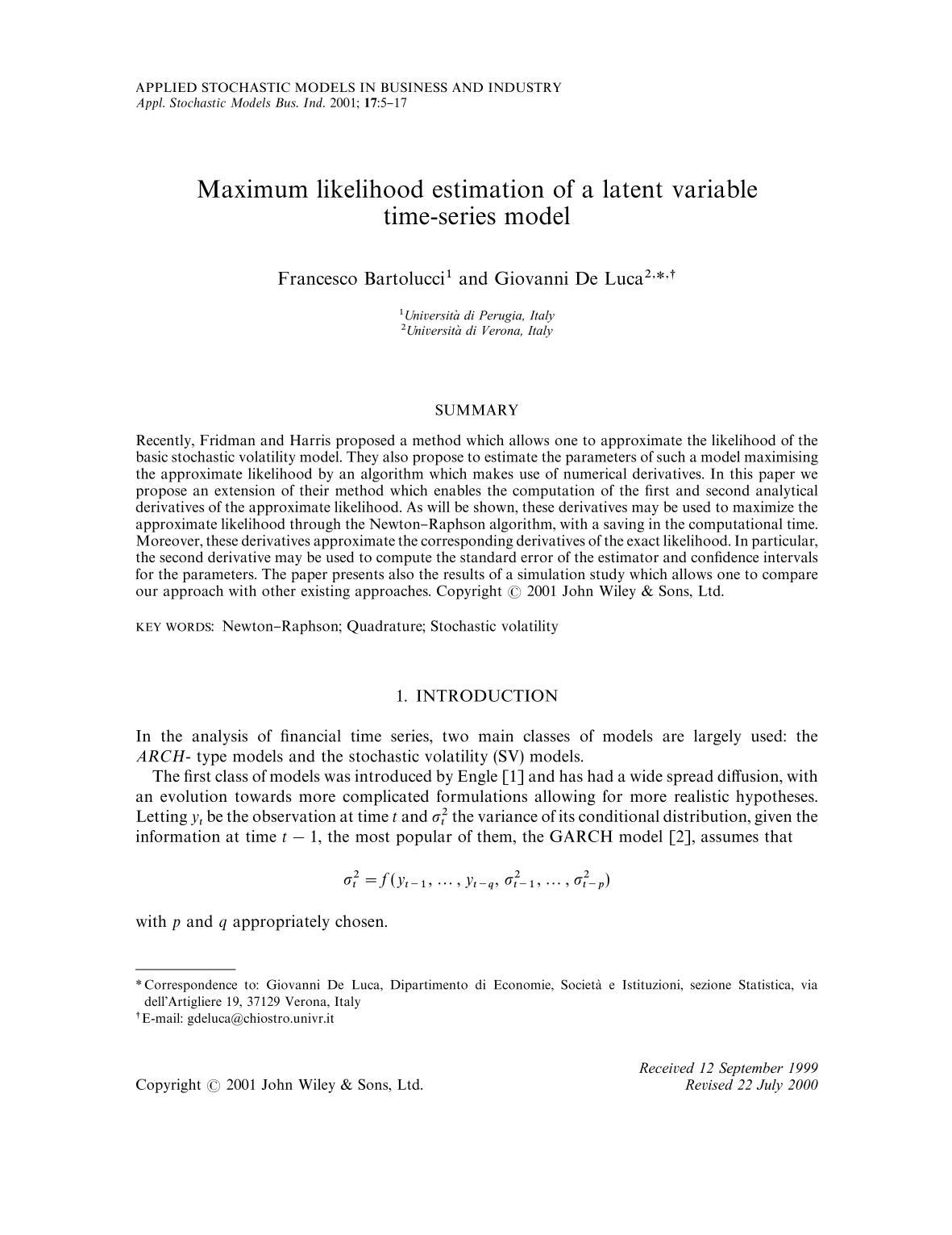 Book cover Maximum likelihood estimation of a latent variable time-series model
