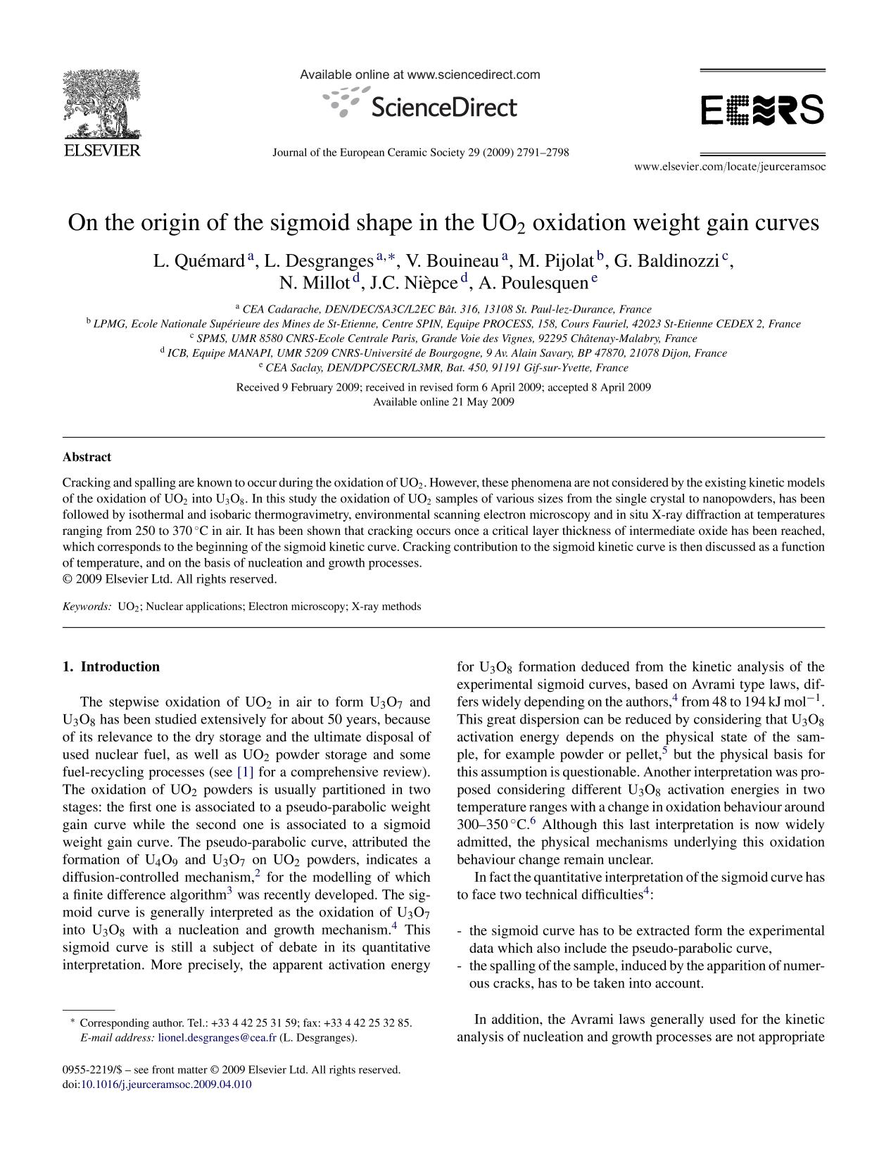 Book cover On the origin of the sigmoid shape in the UO2 oxidation weight gain curves