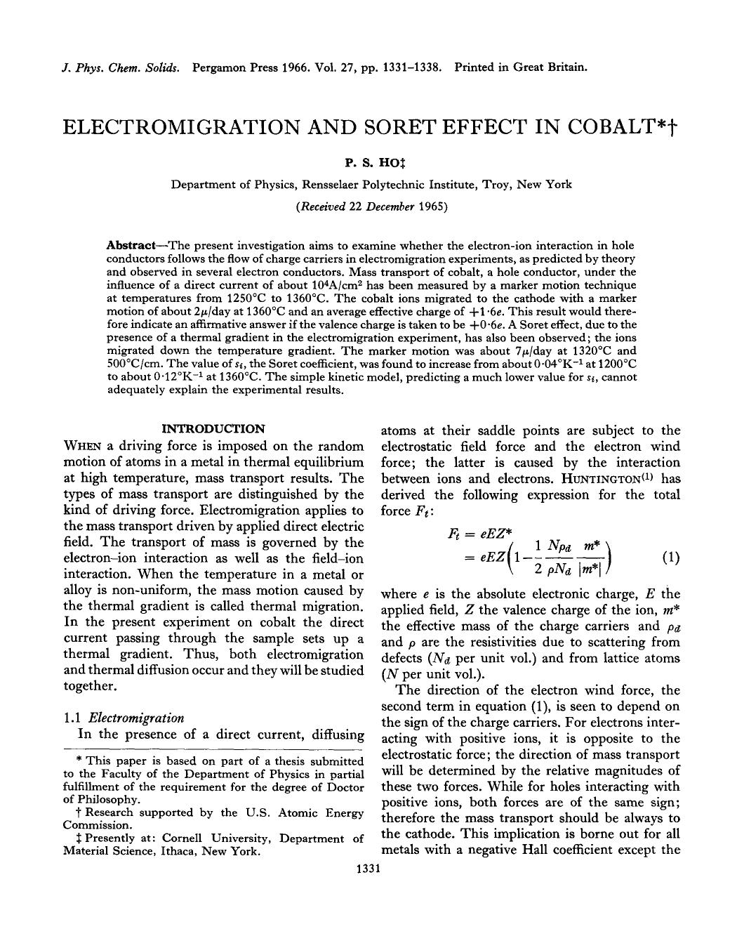 Book cover Electromigration and soret effect in cobalt
