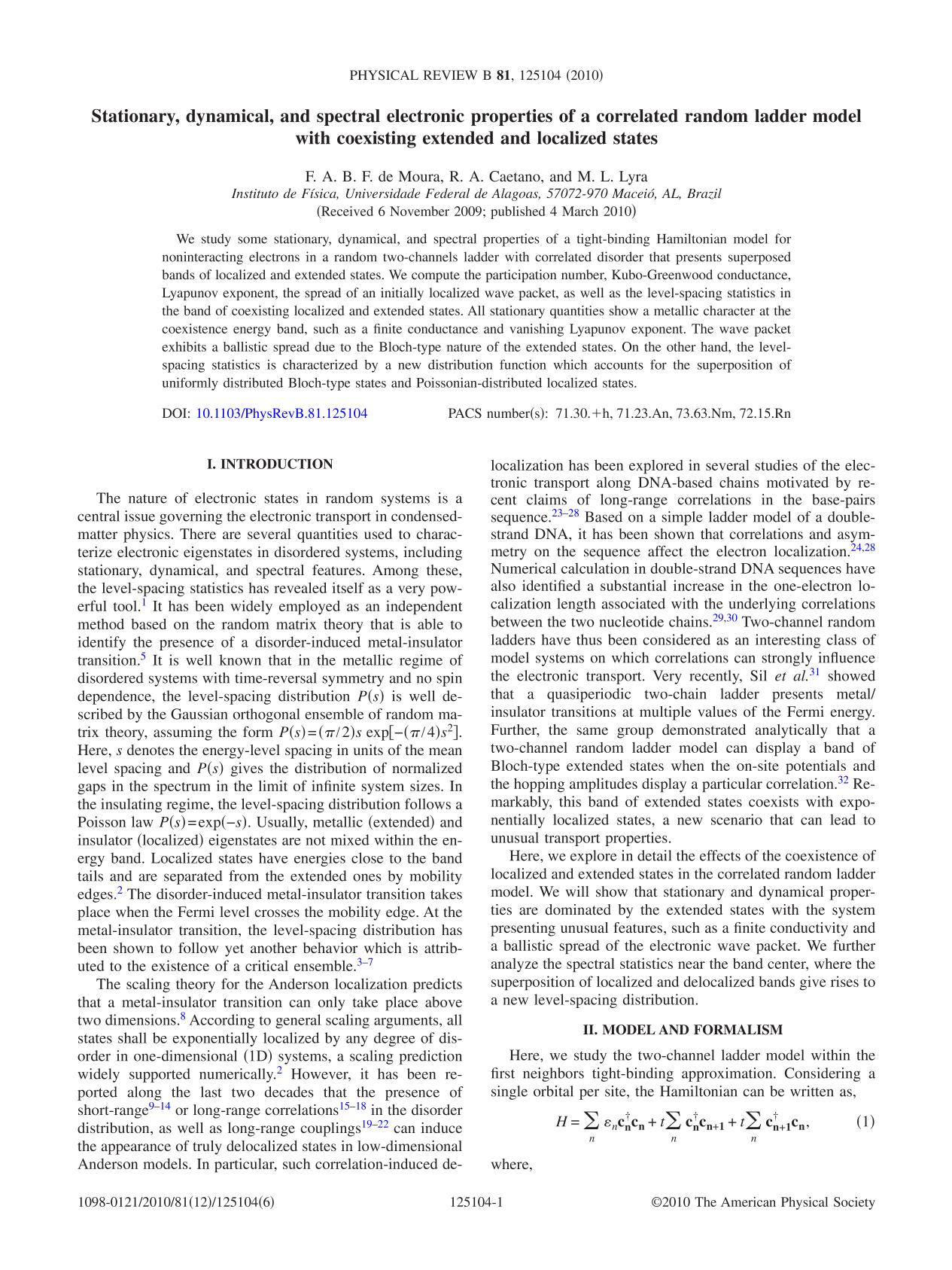 Book cover Stationary, dynamical, and spectral electronic properties of a correlated random ladder model with coexisting extended and localized states