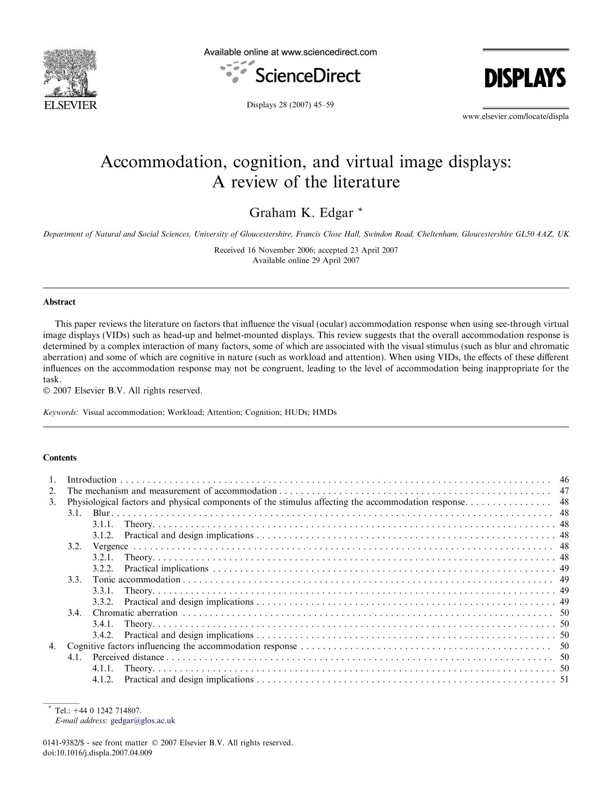 Book cover Accommodation, cognition, and virtual image displays: A review of the literature