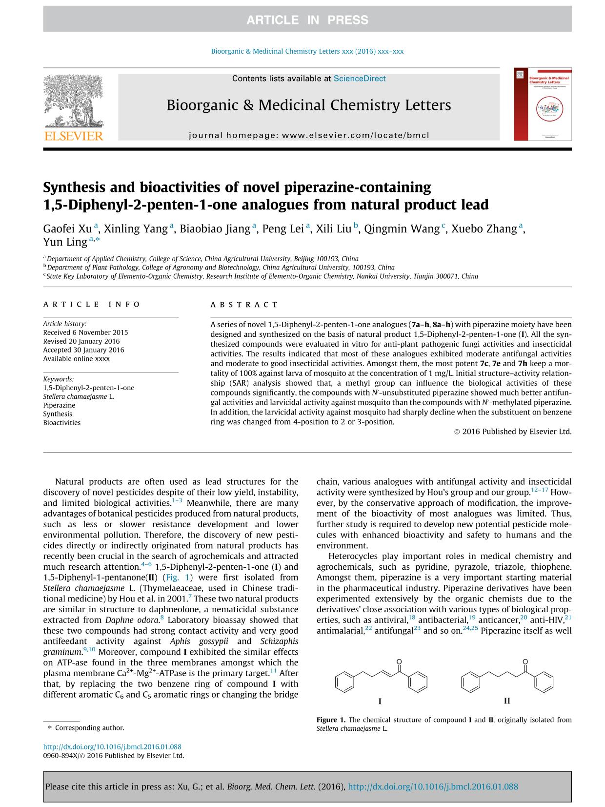 Book cover Synthesis and bioactivities of novel piperazine-containing 1,5-Diphenyl-2-penten-1-one analogues from natural product lead