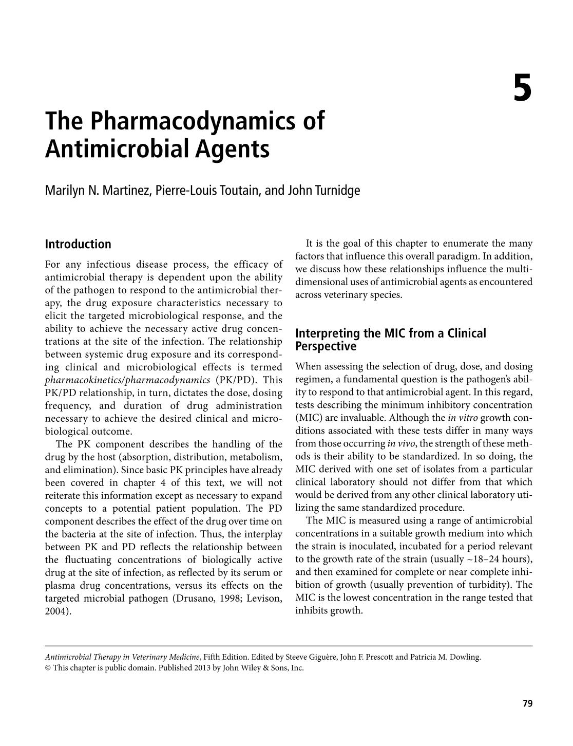 Book cover Antimicrobial Therapy in Veterinary Medicine (Giguère/Antimicrobial Therapy in Veterinary Medicine) || The Pharmacodynamics of Antimicrobial Agents