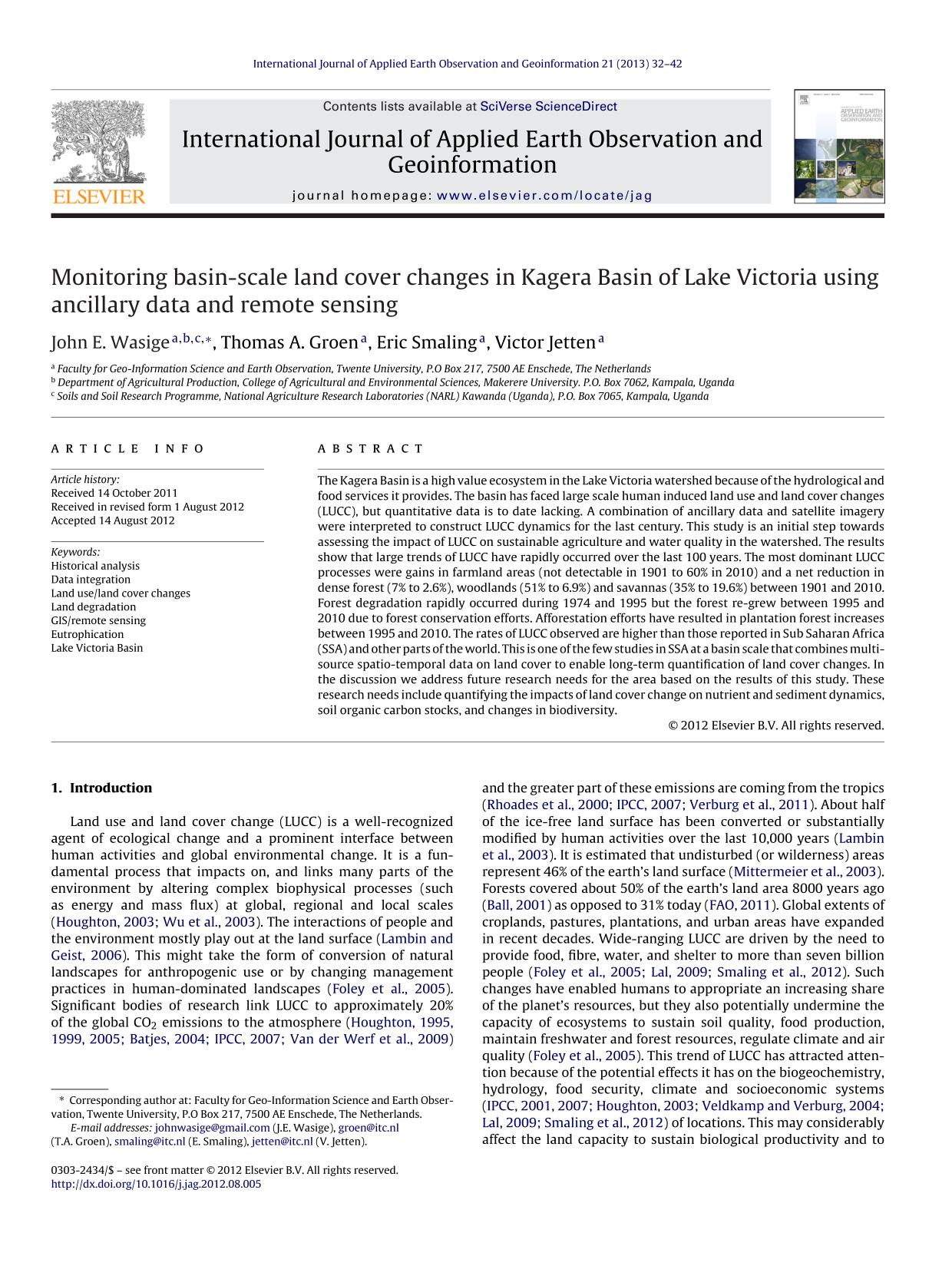 Book cover Monitoring basin-scale land cover changes in Kagera Basin of Lake Victoria using ancillary data and remote sensing