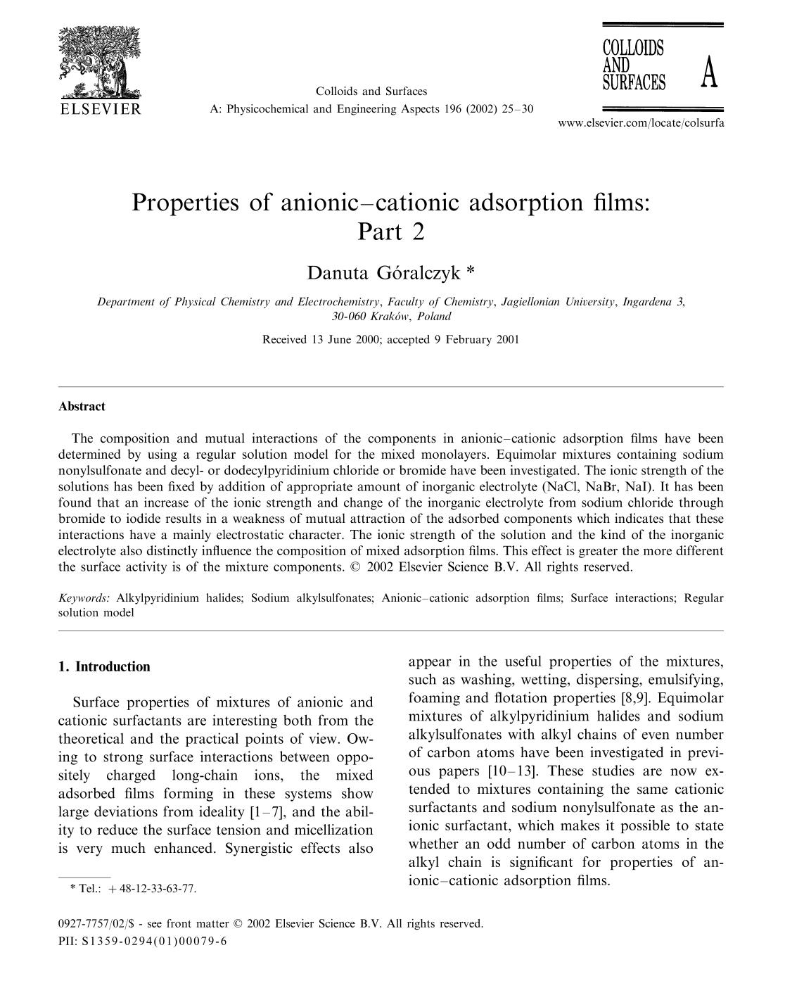 Couverture Properties of anionic–cationic adsorption films:: Part 2