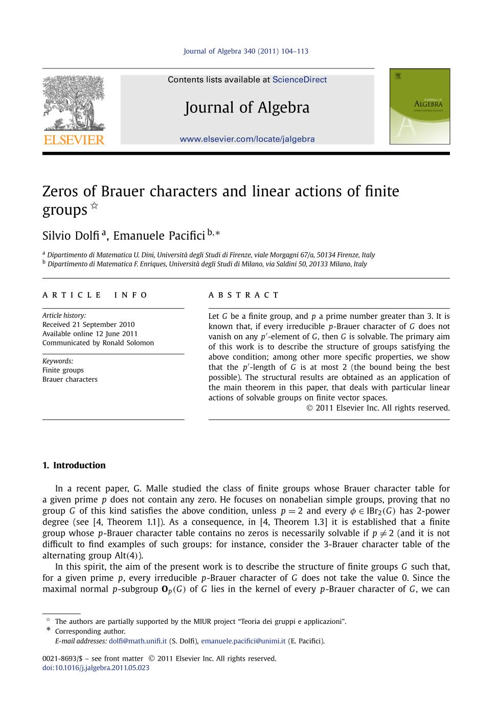 Book cover Zeros of Brauer characters and linear actions of finite groups