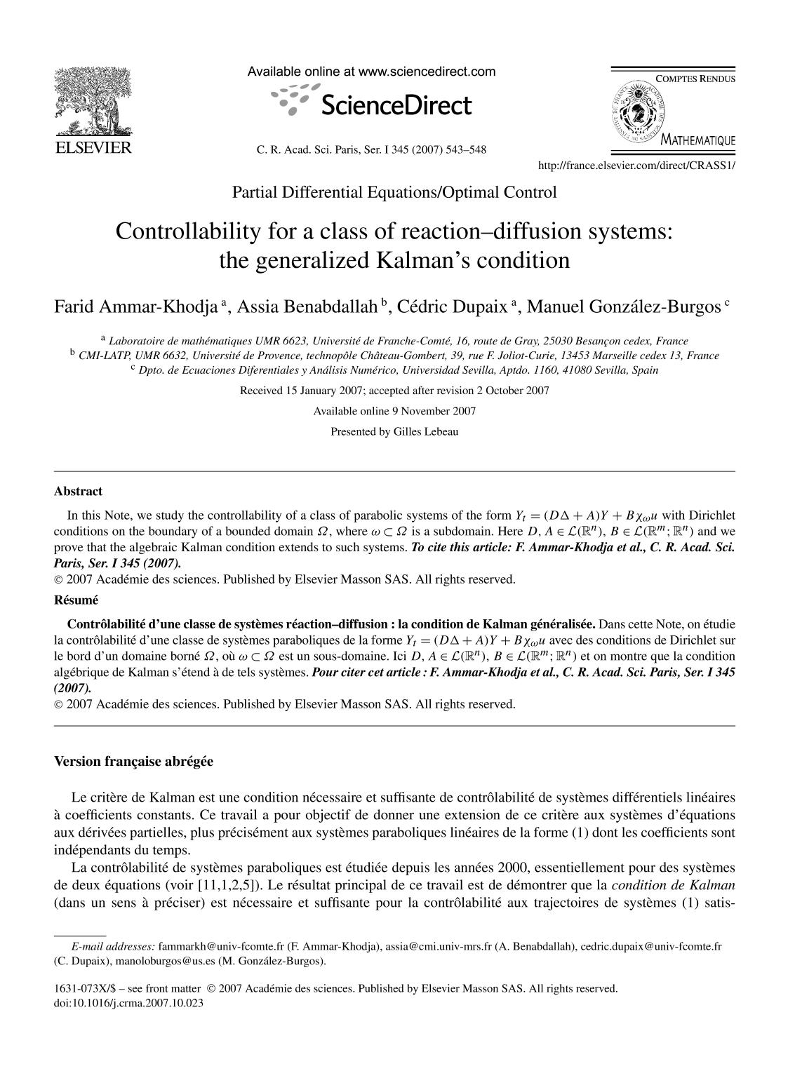 Buchcover Controllability for a class of reaction–diffusion systems: the generalized Kalman's condition