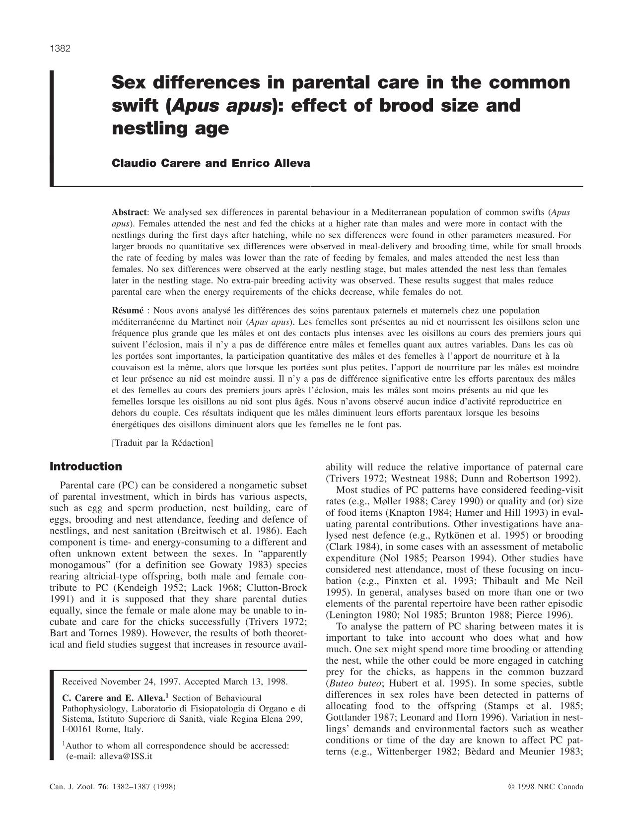 Book cover Sex differences in parental care in the common swift (