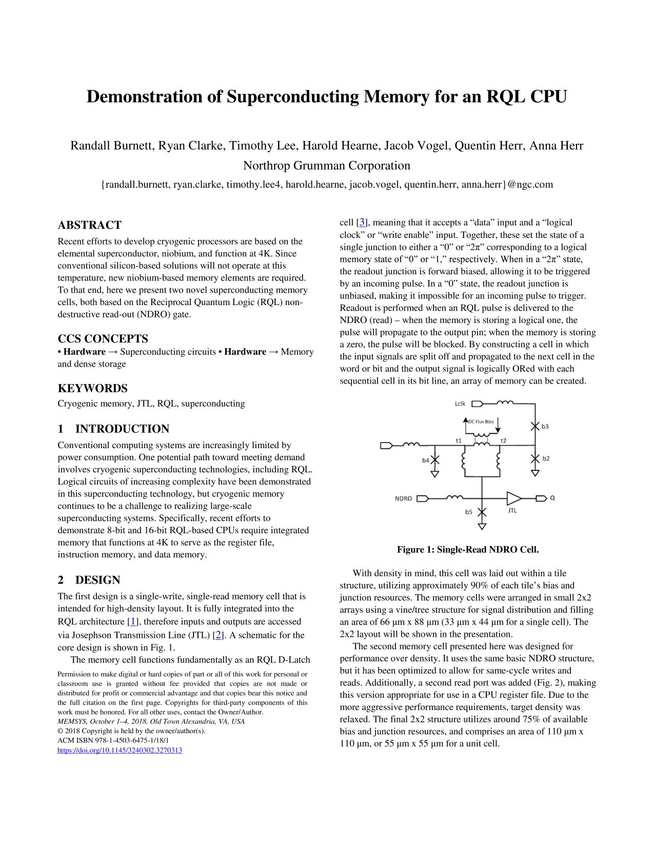 Book cover  [ACM Press the International Symposium - Alexandria, Virginia (2018.10.01-2018.10.04)] Proceedings of the International Symposium on Memory Systems  - MEMSYS '18 - Demonstration of superconducting memory for an RQL CPU