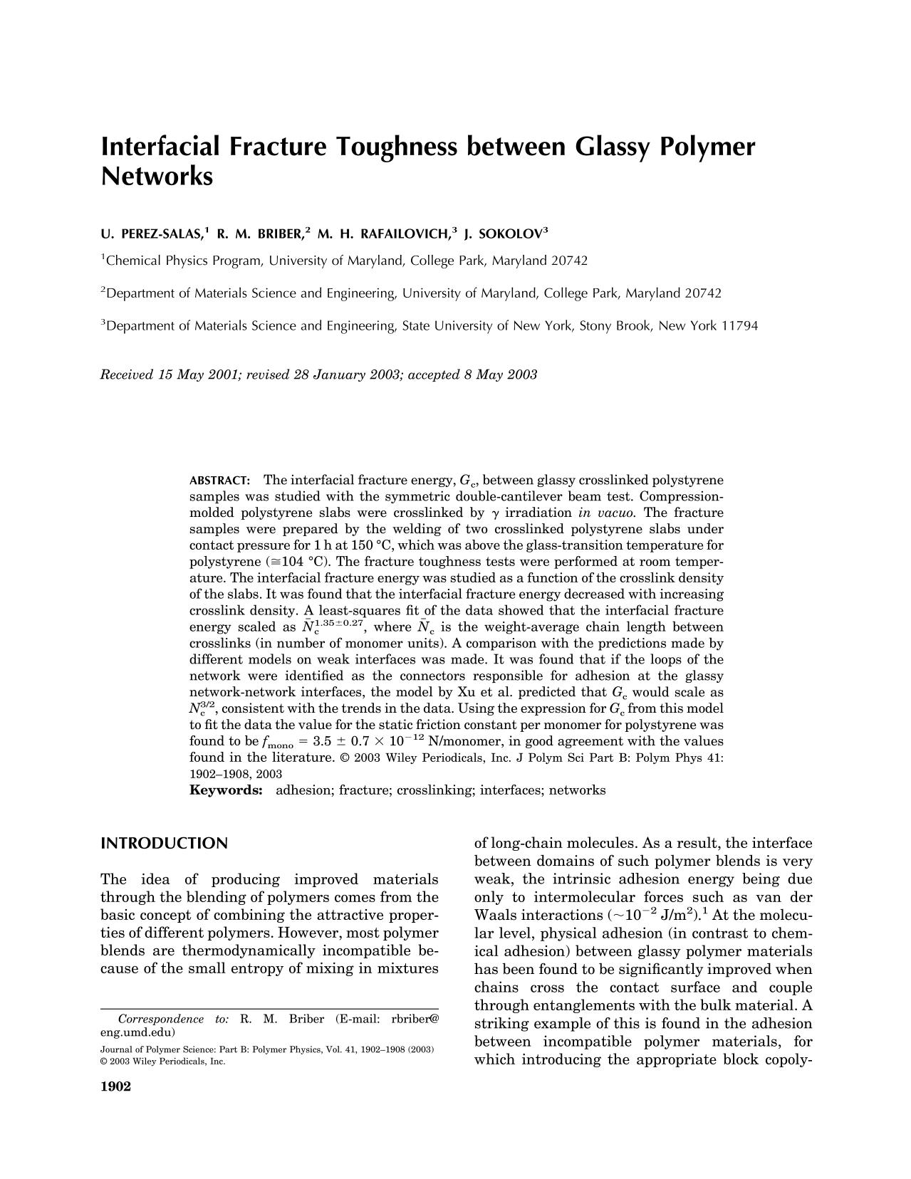 Обкладинка книги Interfacial fracture toughness between glassy polymer networks