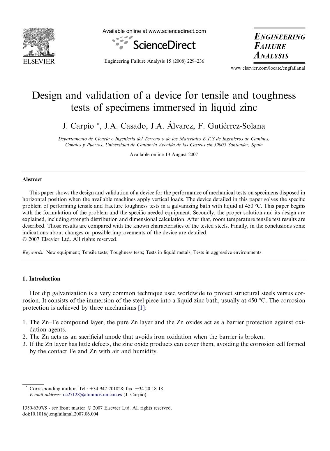 Обкладинка книги Design and validation of a device for tensile and toughness tests of specimens immersed in liquid zinc