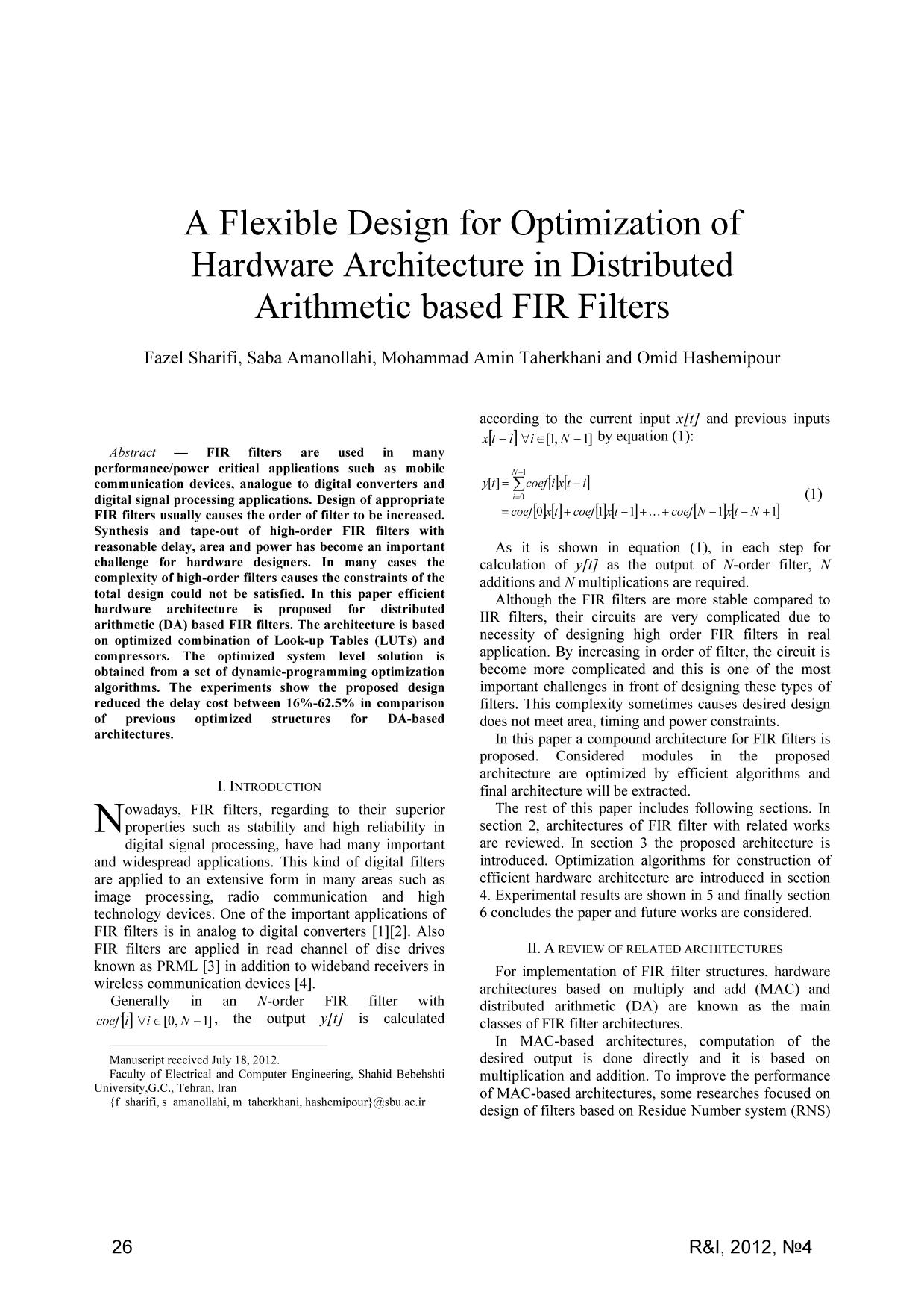 Book cover A Flexible Design for Optimization of Hardware Architecture in Distributed Arithmetic based FIR Filters