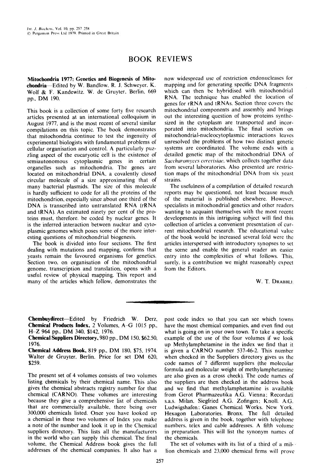 Обложка книги Mitochondria 1977: Genetics and biogenesis of mitochondria: Edited by W. Bandlow. R.J. Schweyer K. Wolf & F. Kandewitz. W. de Gruyter. Berlin. 669 pp., DM 190