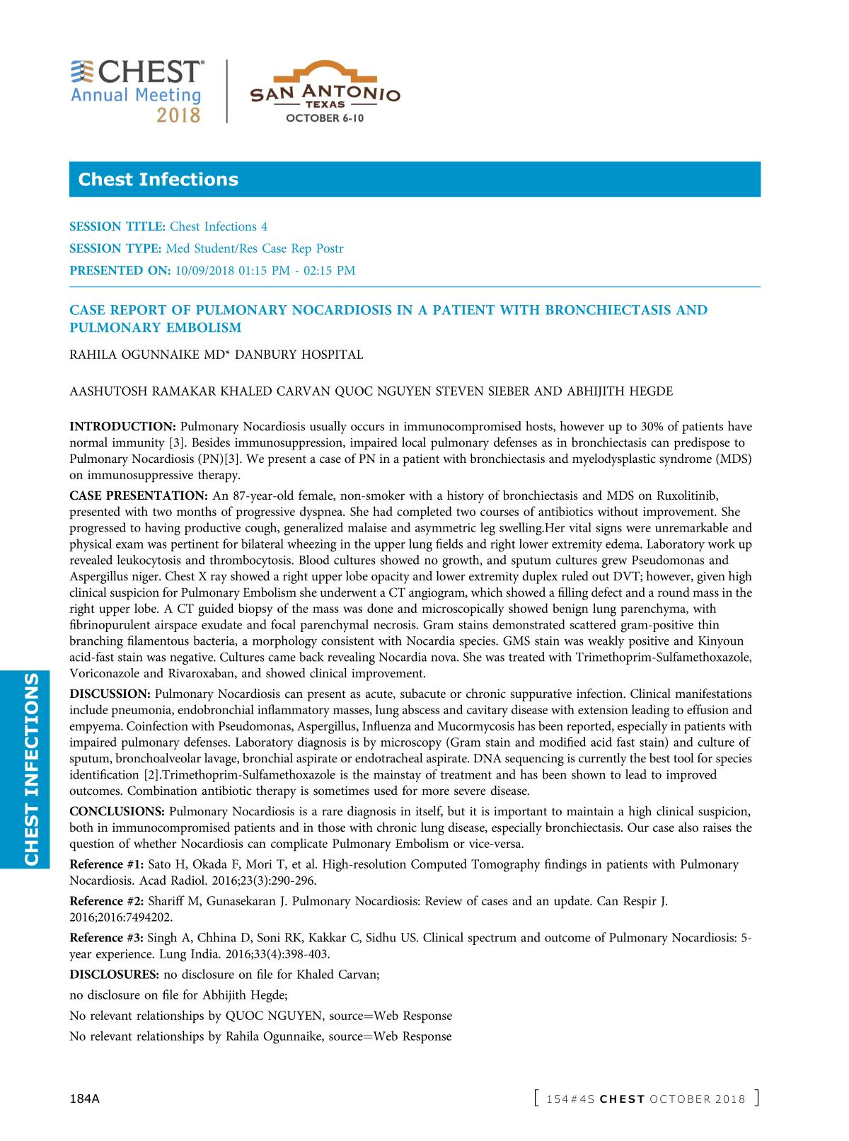 Book cover CASE REPORT OF PULMONARY NOCARDIOSIS IN A PATIENT WITH BRONCHIECTASIS AND PULMONARY EMBOLISM