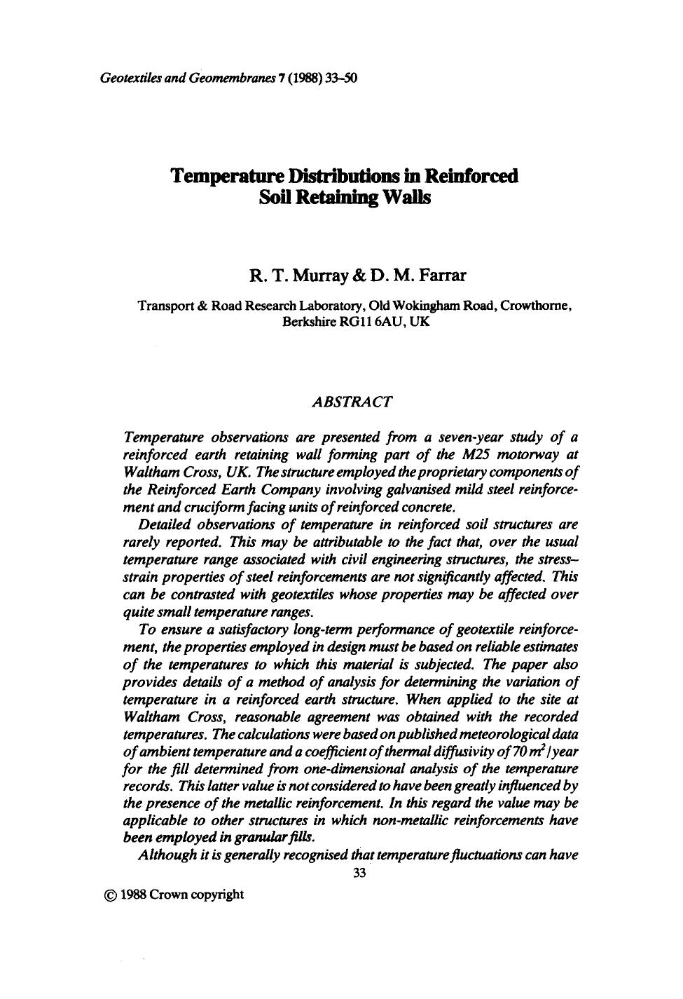 Book cover Temperature distributions in reinforced soil retaining walls