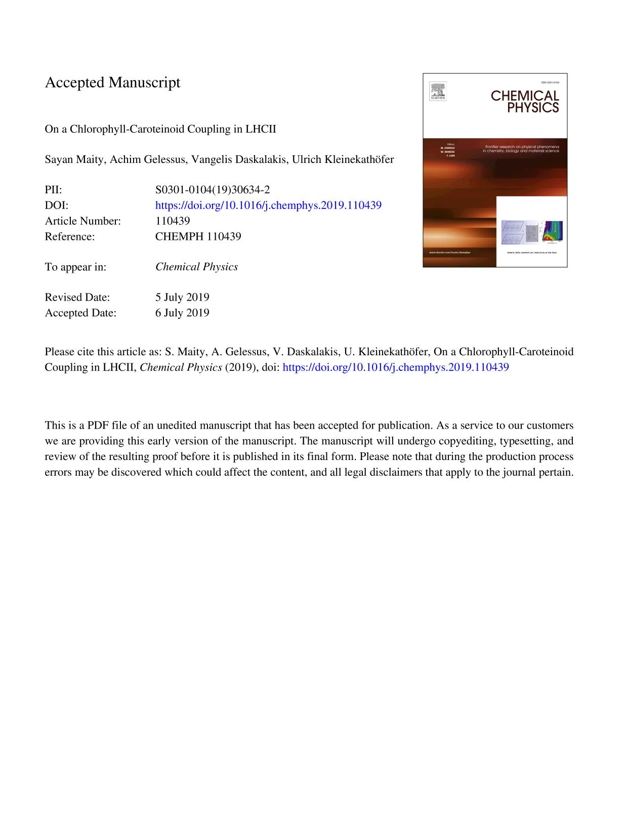 Book cover On a Chlorophyll-Caroteinoid Coupling in LHCII