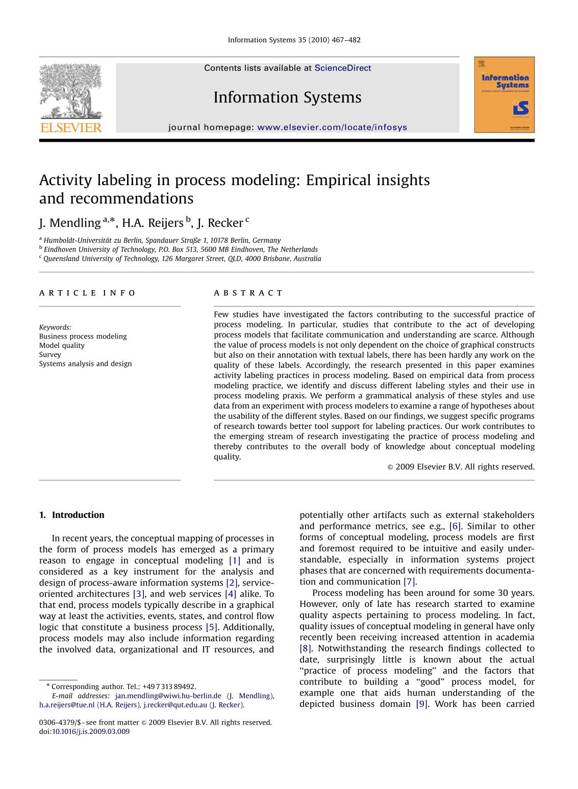 Book cover Activity labeling in process modeling: Empirical insights and recommendations