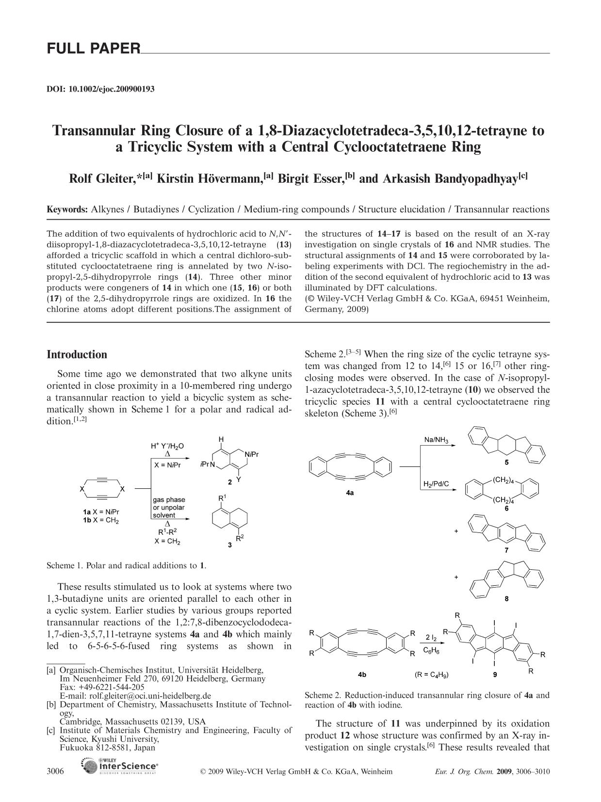Обкладинка книги Transannular Ring Closure of a 1,8-Diazacyclotetradeca-3,5,10,12-tetrayne to a Tricyclic System with a Central Cyclooctatetraene Ring