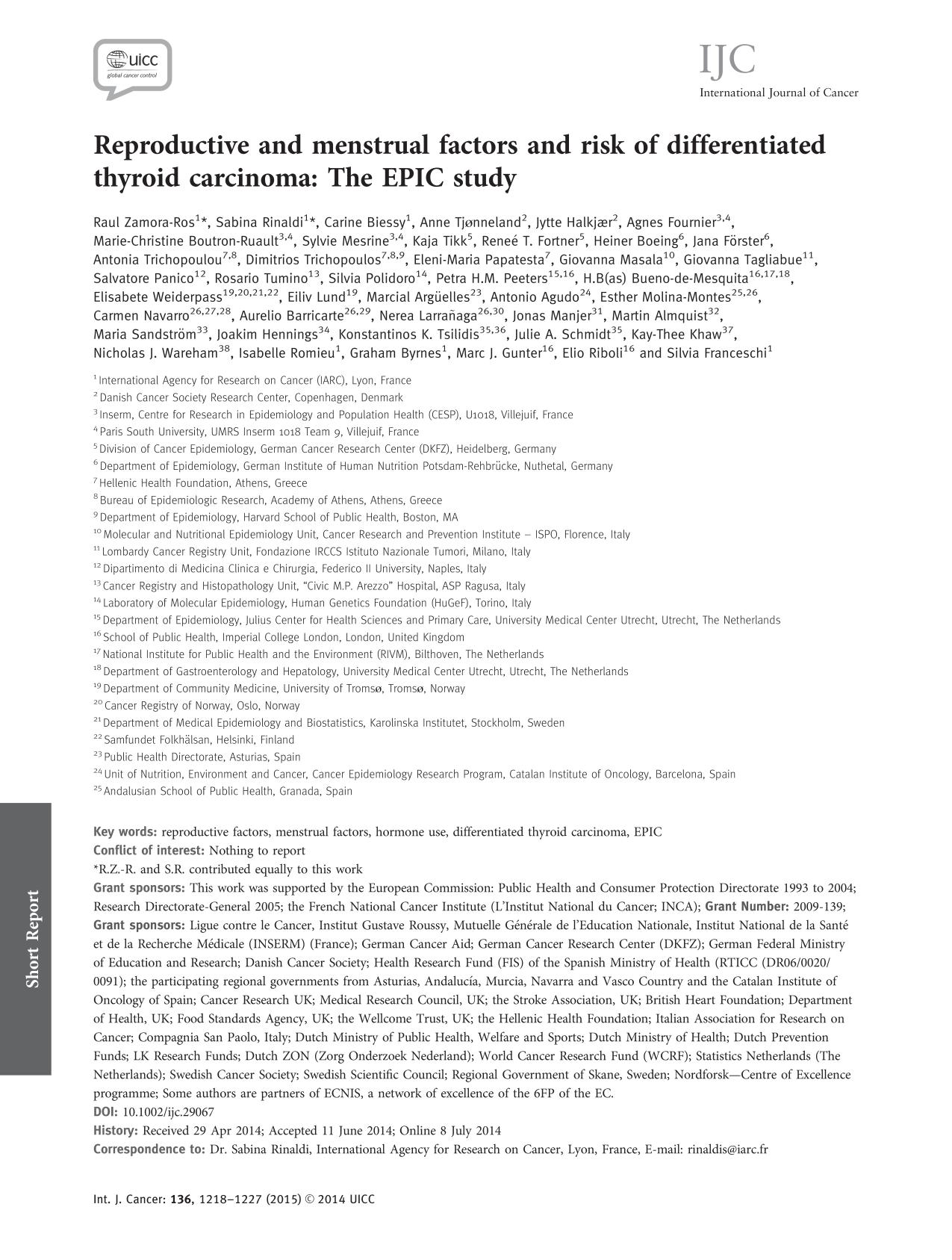 Book cover Reproductive and menstrual factors and risk of differentiated thyroid carcinoma: The EPIC study