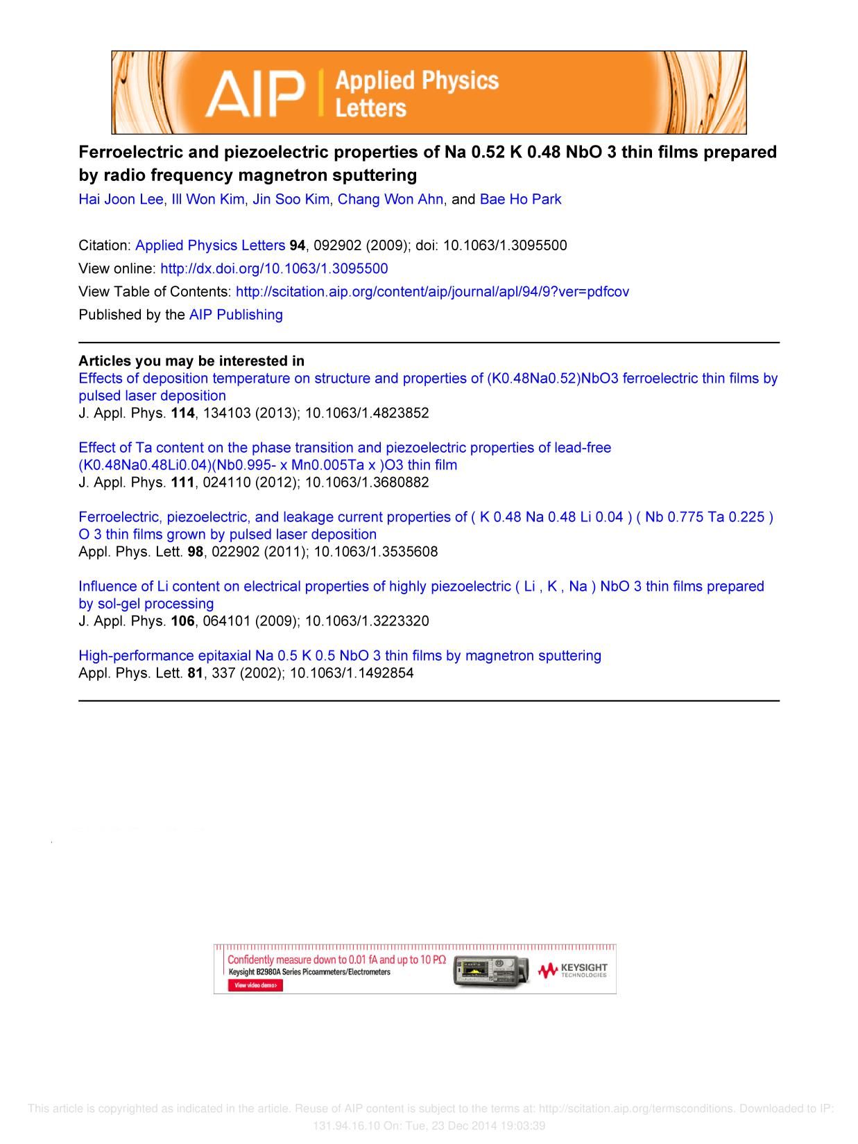 Book cover Ferroelectric and piezoelectric properties of Na[sub 0.52]K[sub 0.48]NbO[sub 3] thin films prepared by radio frequency magnetron sputtering