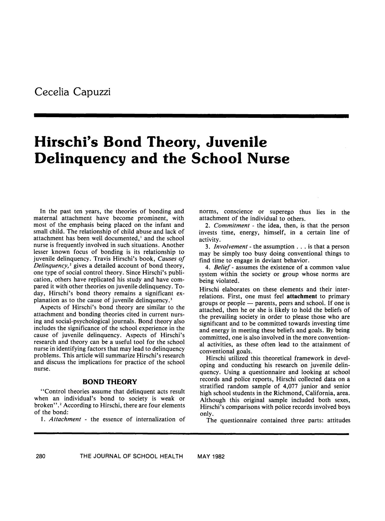 Book cover Hirschi's Bond Theory, Juvenile Delinquency and the School Nurse