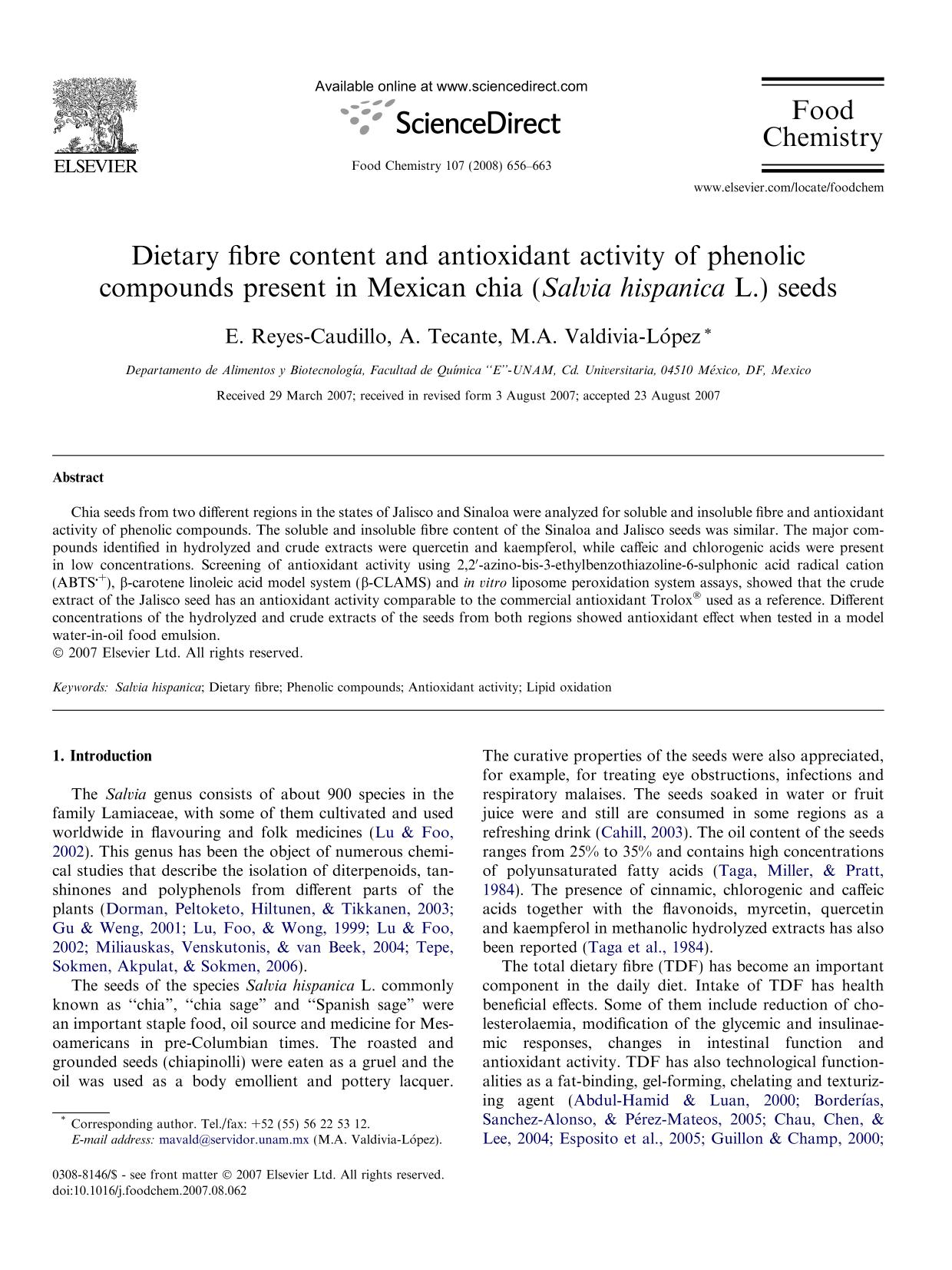 Book cover Dietary fibre content and antioxidant activity of phenolic compounds present in Mexican chia (Salvia hispanica L.) seeds