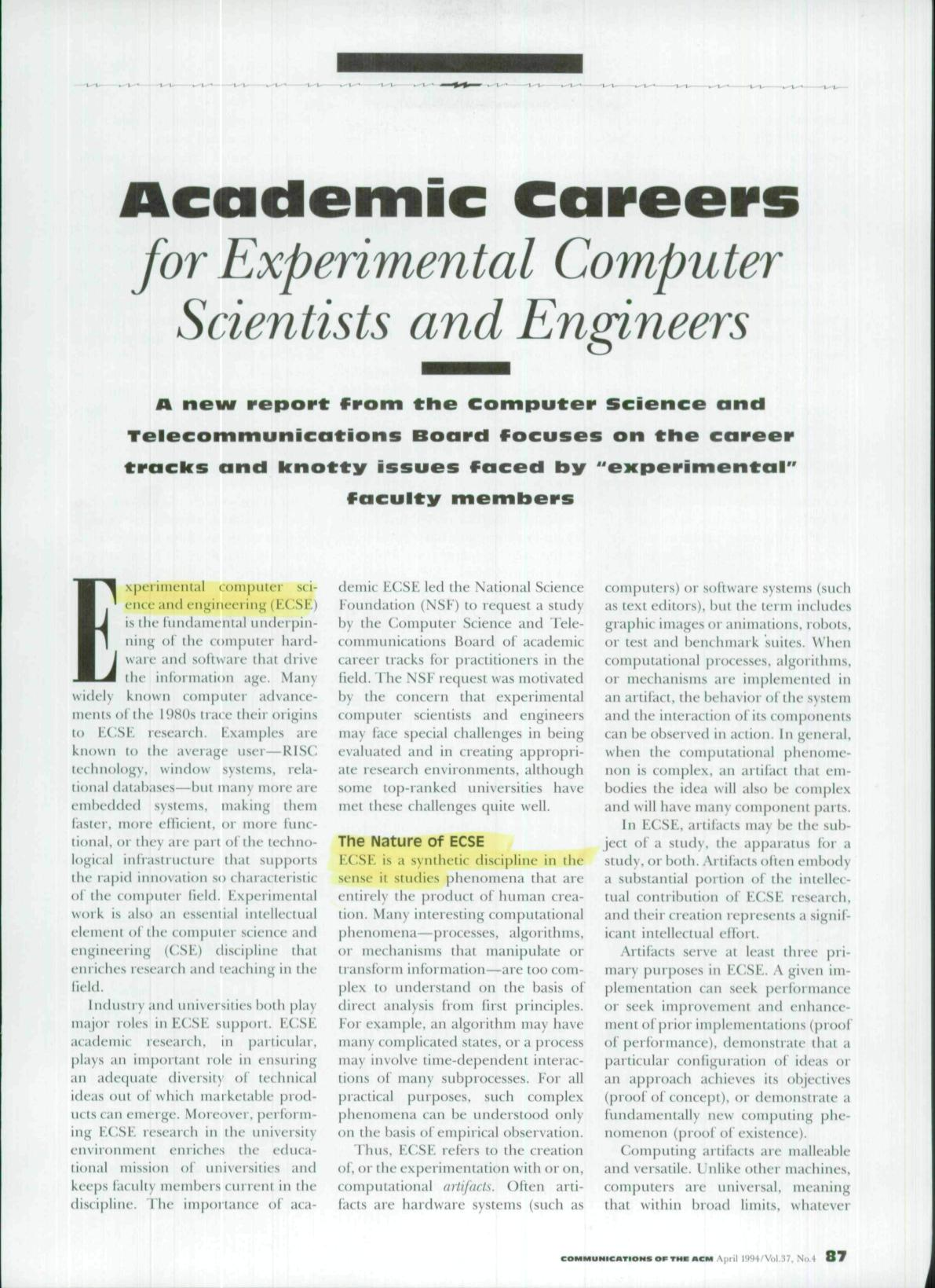 Book cover Academic careers for experimental computer scientists and engineers