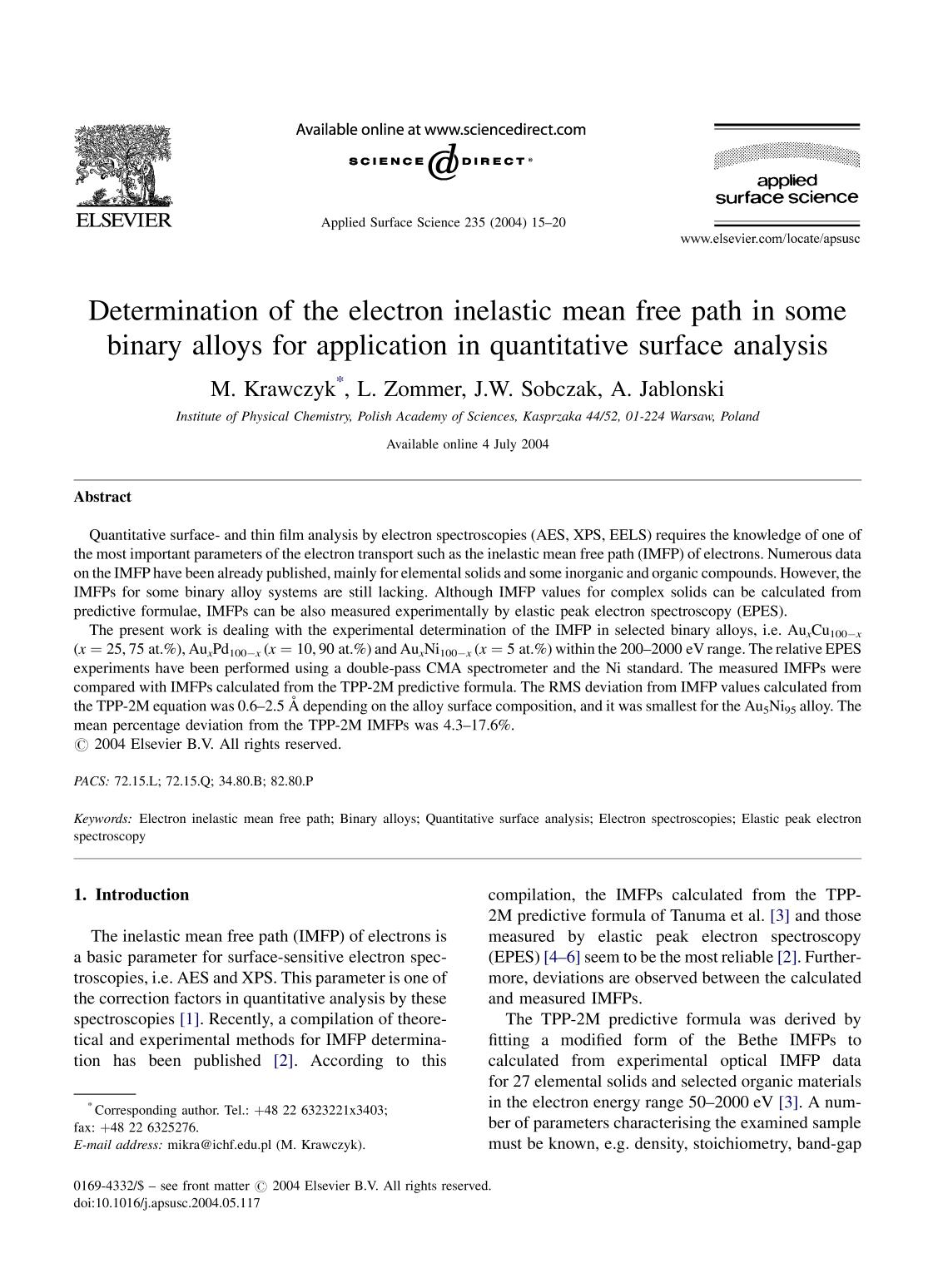 Book cover Determination of the electron inelastic mean free path in some binary alloys for application in quantitative surface analysis