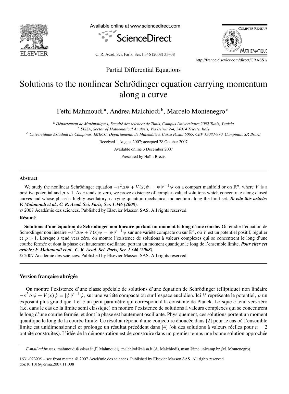 Book cover Solutions to the nonlinear Schrödinger equation carrying momentum along a curve