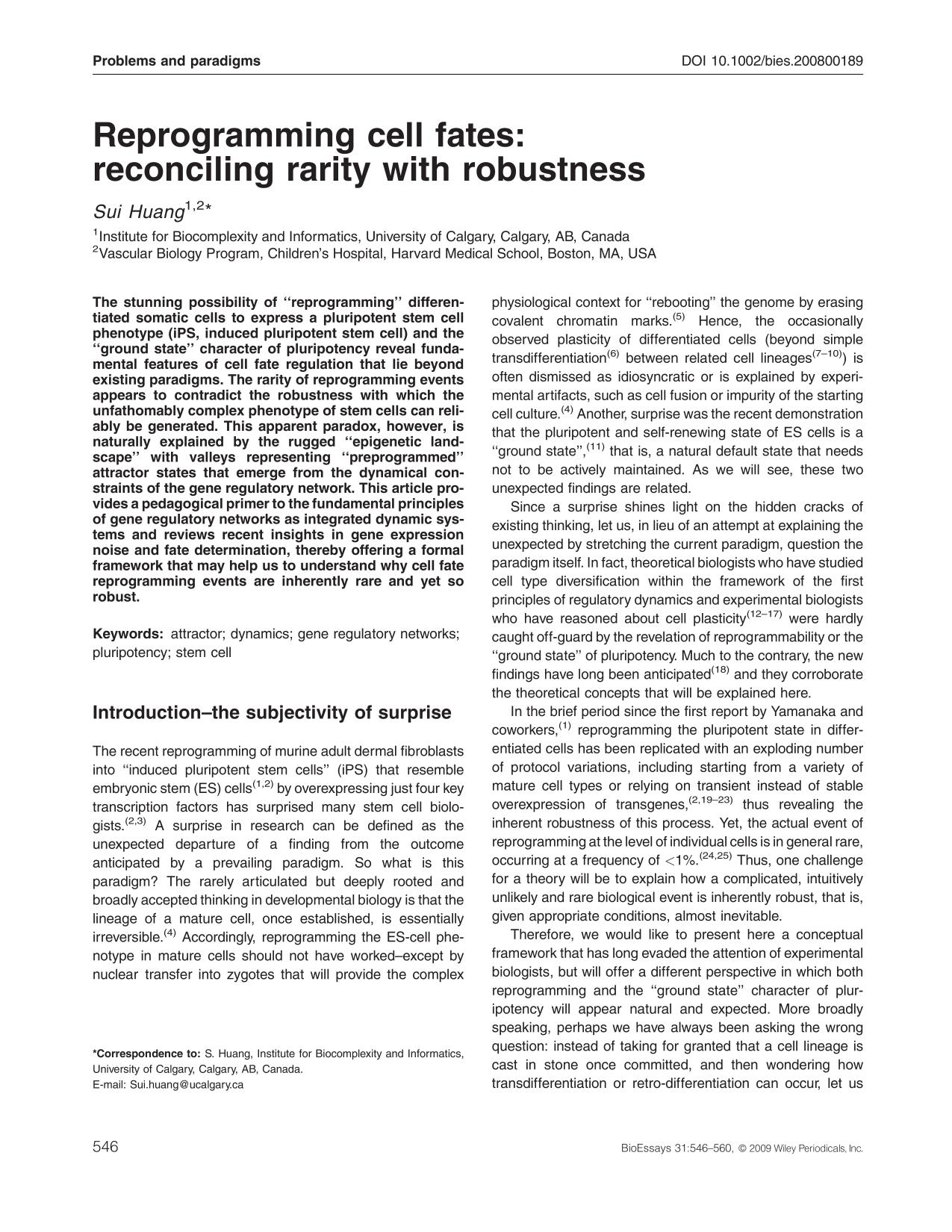 Book cover Reprogramming cell fates: reconciling rarity with robustness