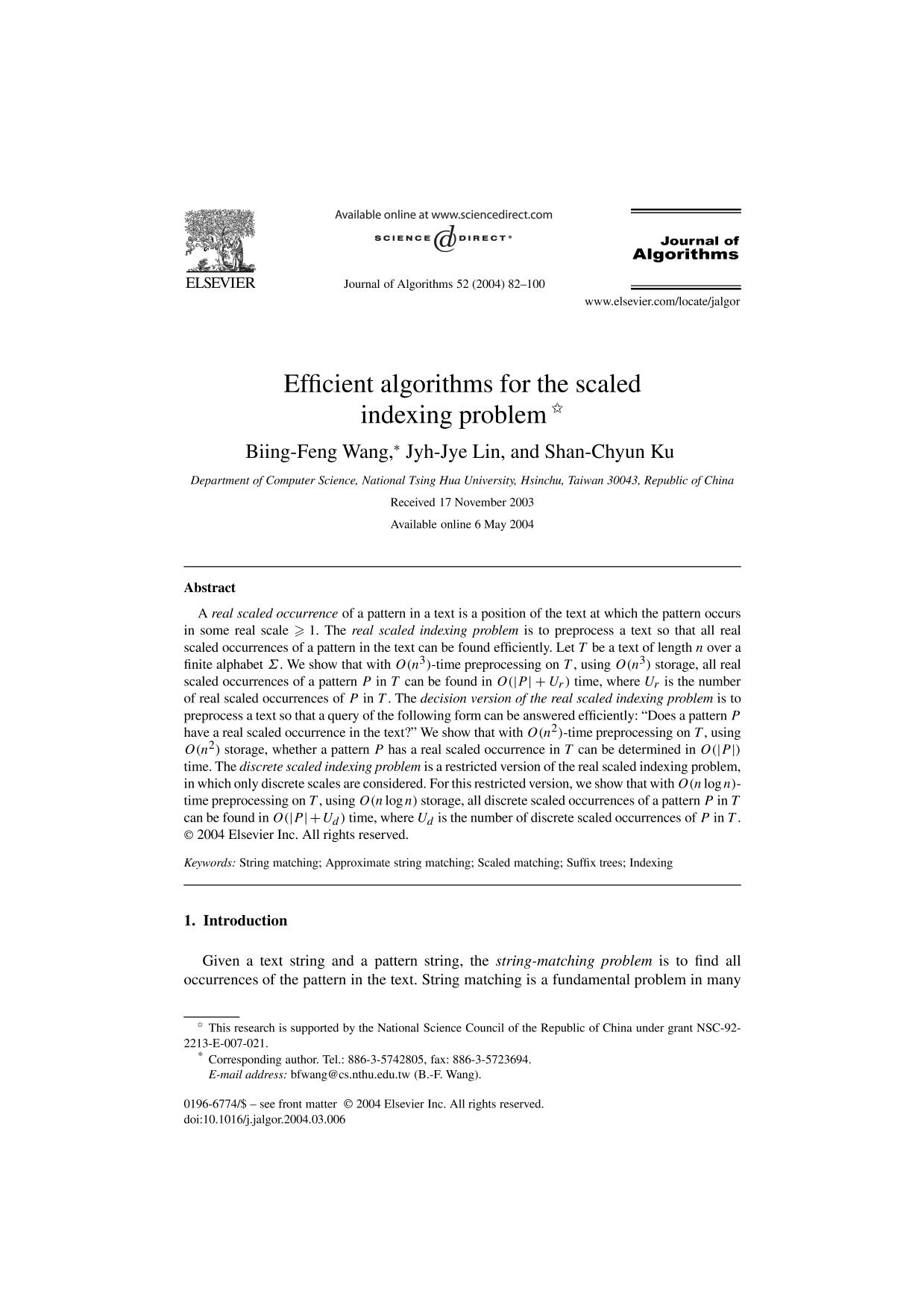 Book cover Efficient algorithms for the scaled indexing problem