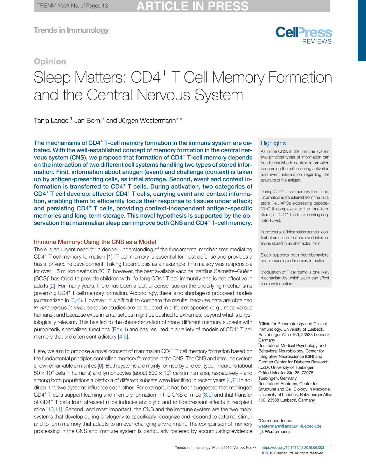 Book cover Sleep Matters: CD4+ T Cell Memory Formation and the Central Nervous System