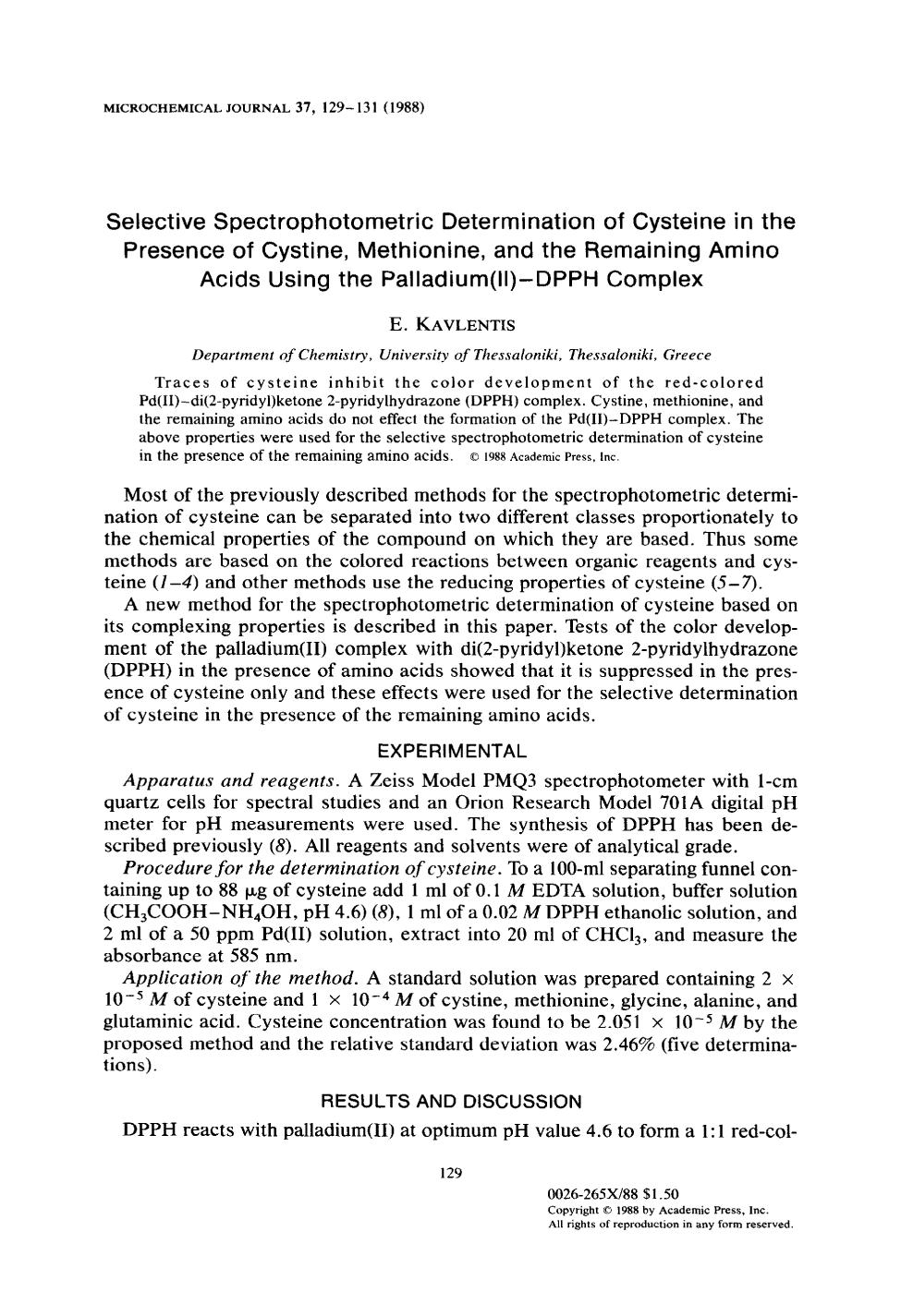 Couverture Selective spectrophotometric determination of cysteine in the presence of cystine, methionine, and the remaining amino acids using the palladium(II)-DPPH complex