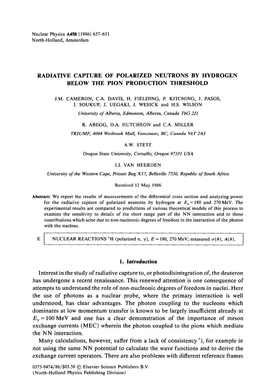 غلاف الكتاب Radiative capture of polarized neutrons by hydrogen below the pion production threshold