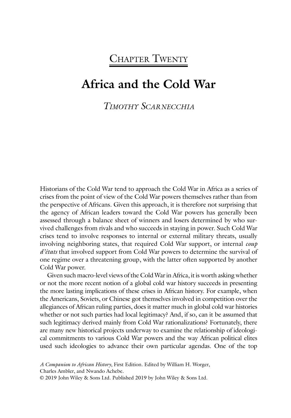 Book cover A Companion to African History || Africa and the Cold War