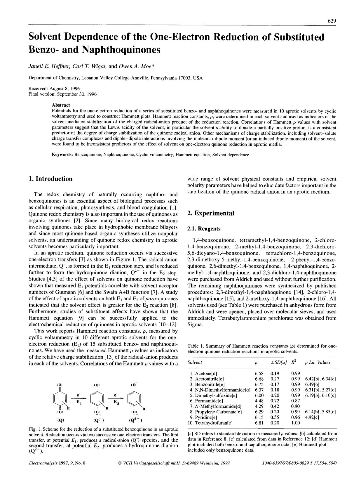 Book cover Solvent dependence of the one-electron reduction of substituted benzo- and naphthoquinones