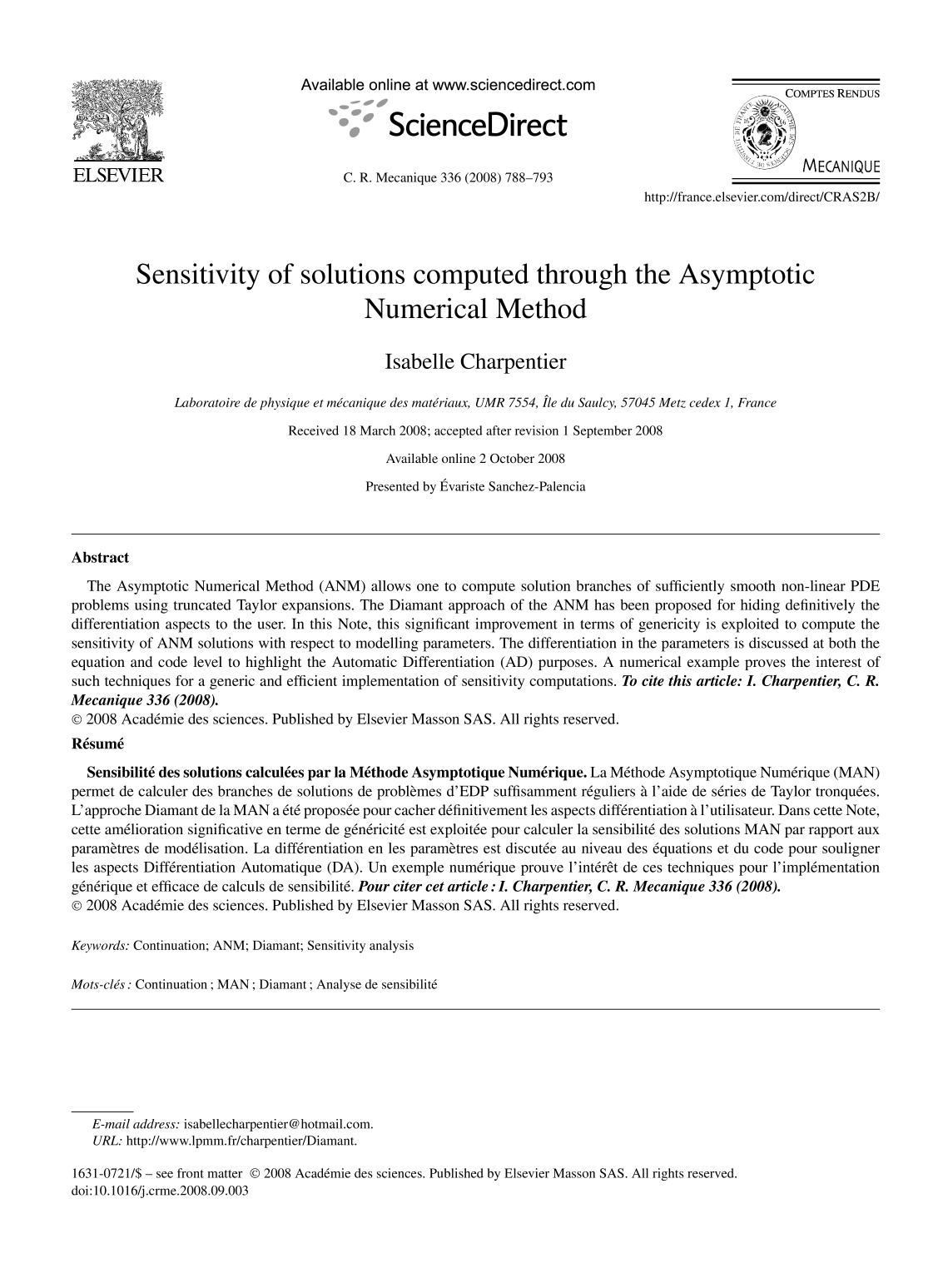 Book cover Sensitivity of solutions computed through the Asymptotic Numerical Method