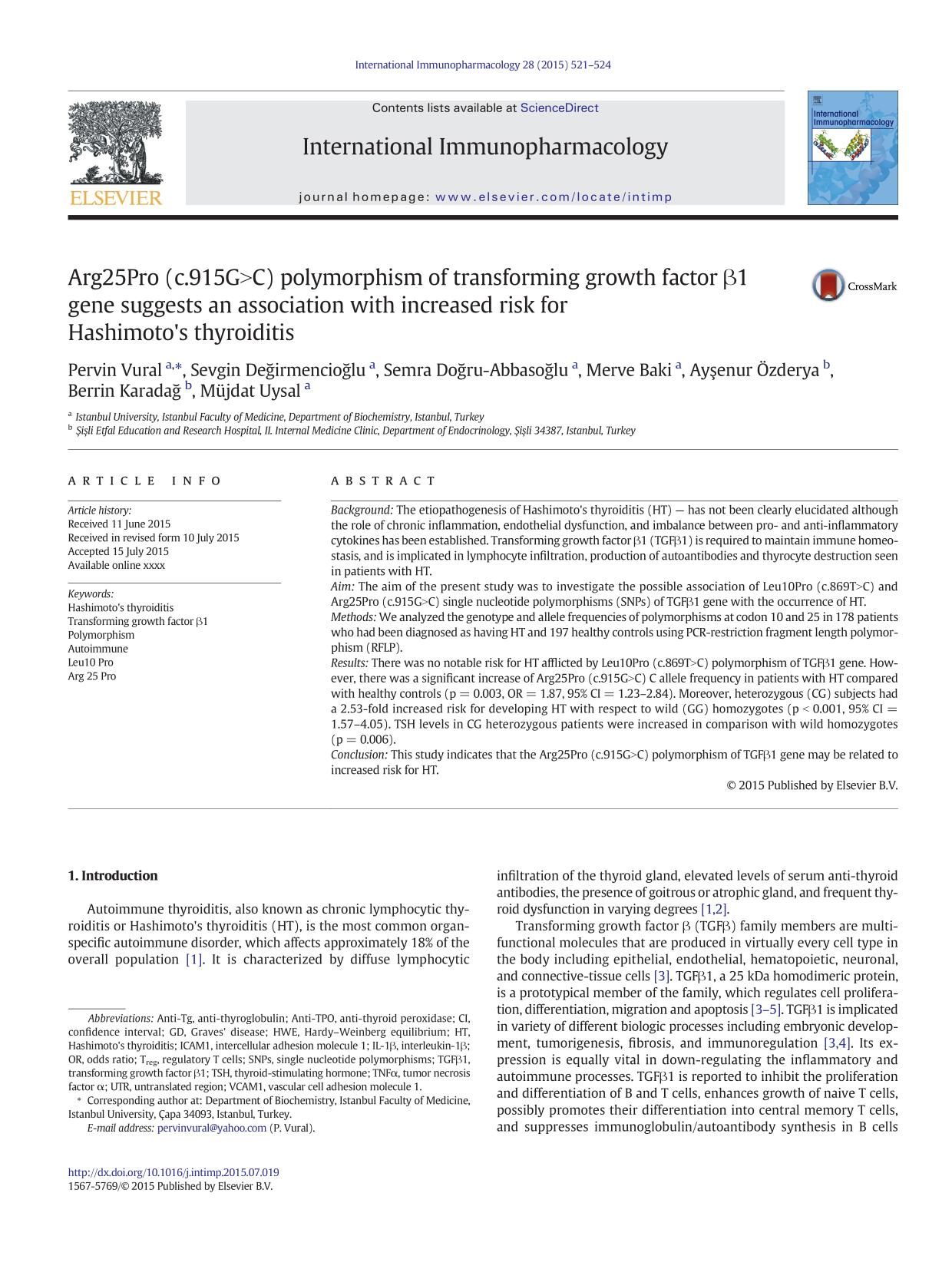 Book cover Arg25Pro (c.915G>C) polymorphism of transforming growth factor β1 gene suggests an association with increased risk for Hashimoto's thyroiditis