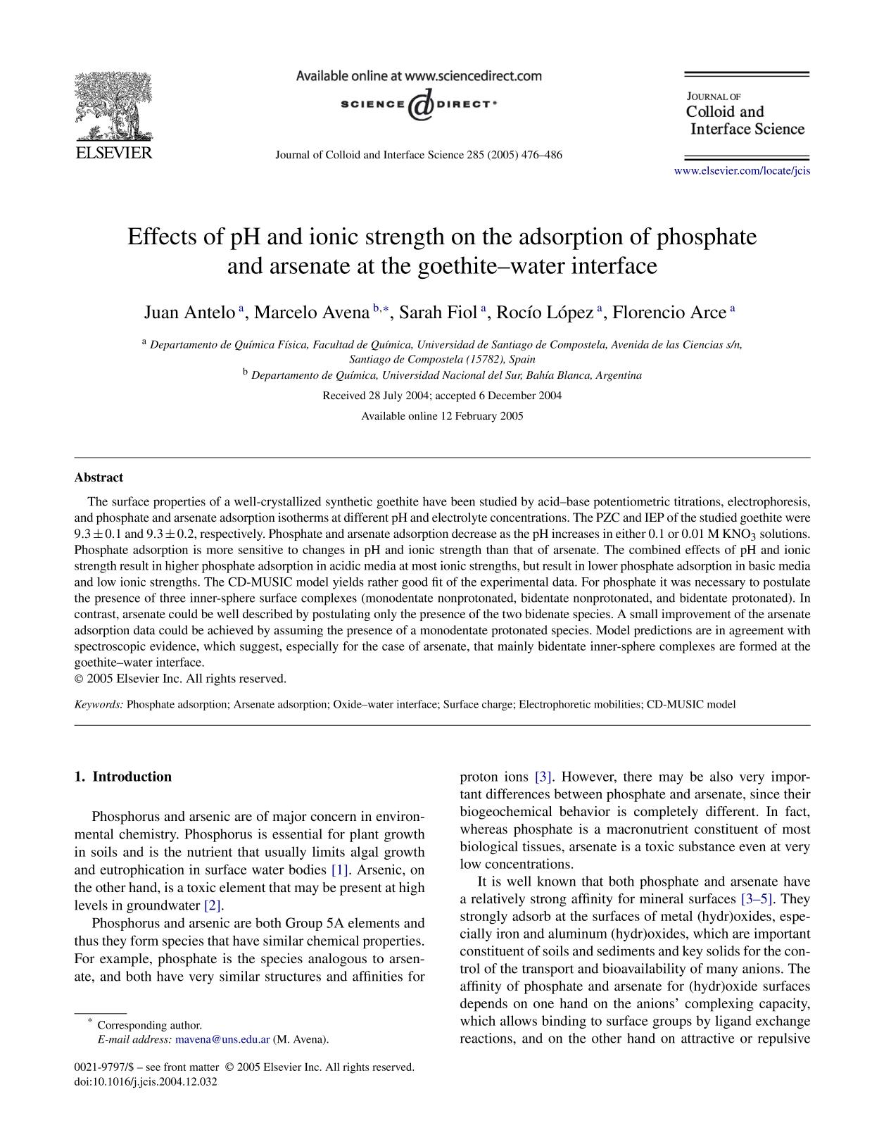 Book cover Effects of pH and ionic strength on the adsorption of phosphate and arsenate at the goethite–water interface